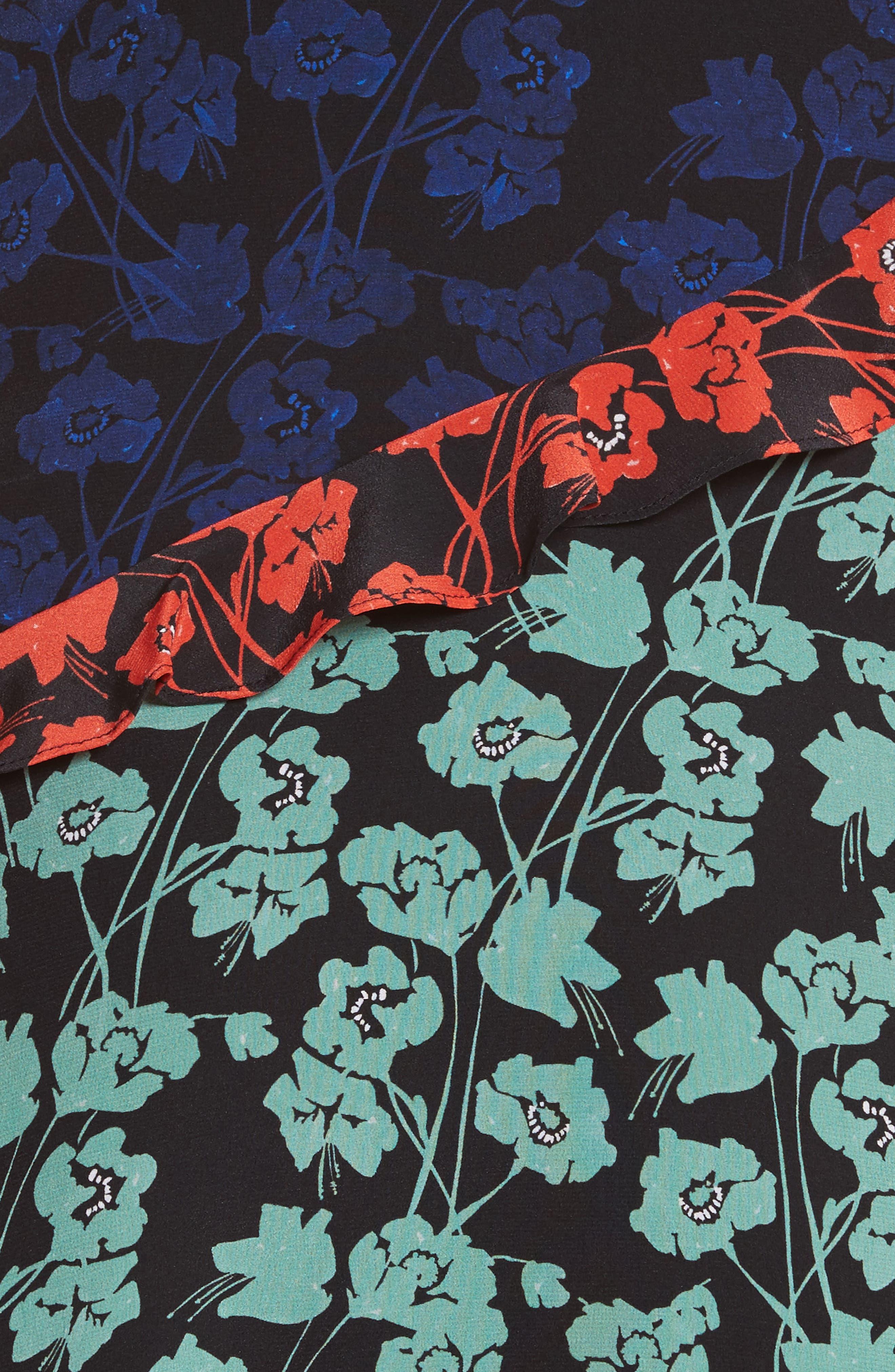 Aggie Floral Print Silk Dress,                             Alternate thumbnail 5, color,                             465