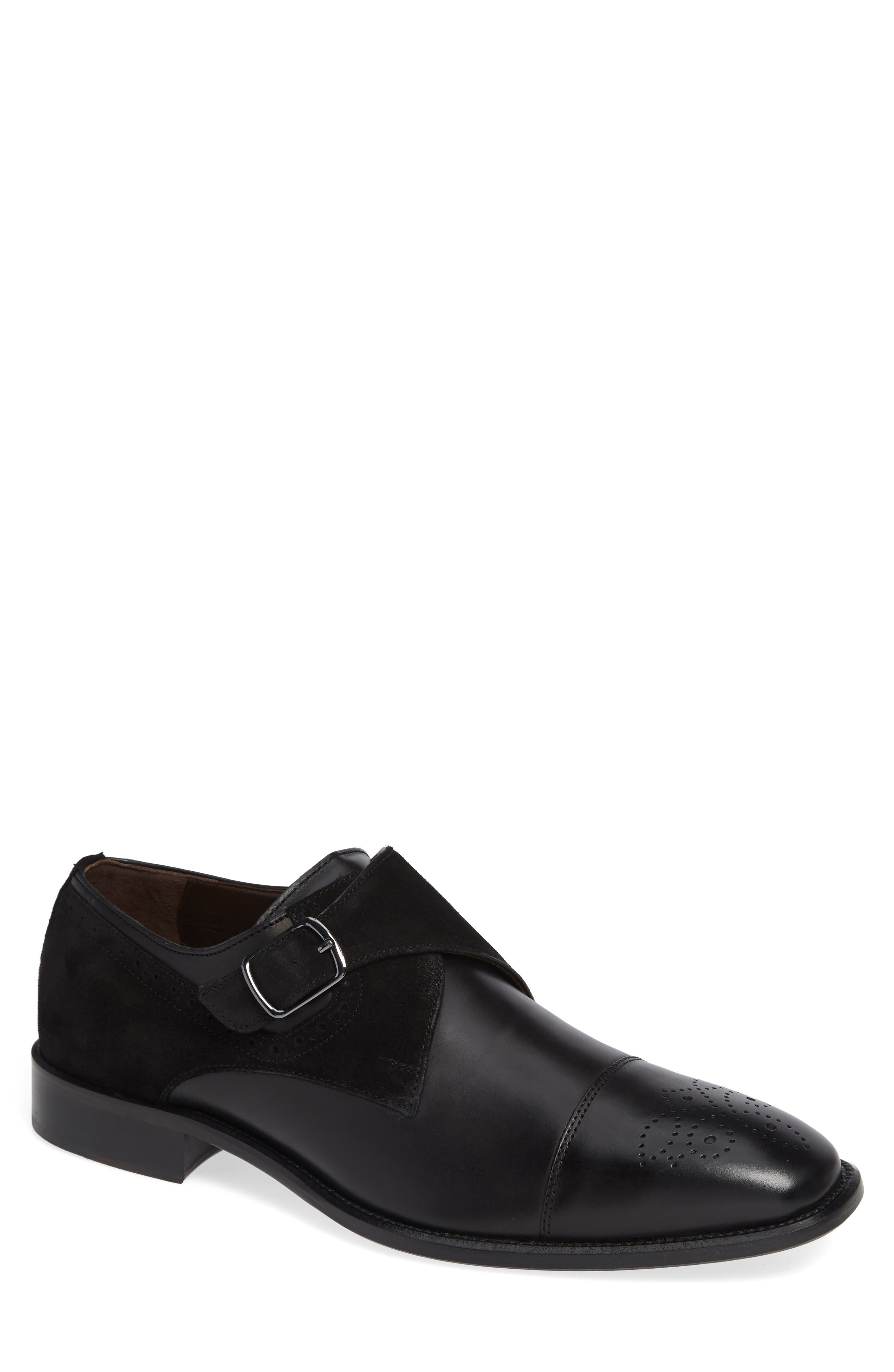 Maxwell Monk Shoe,                             Main thumbnail 1, color,                             BLACK SUEDE