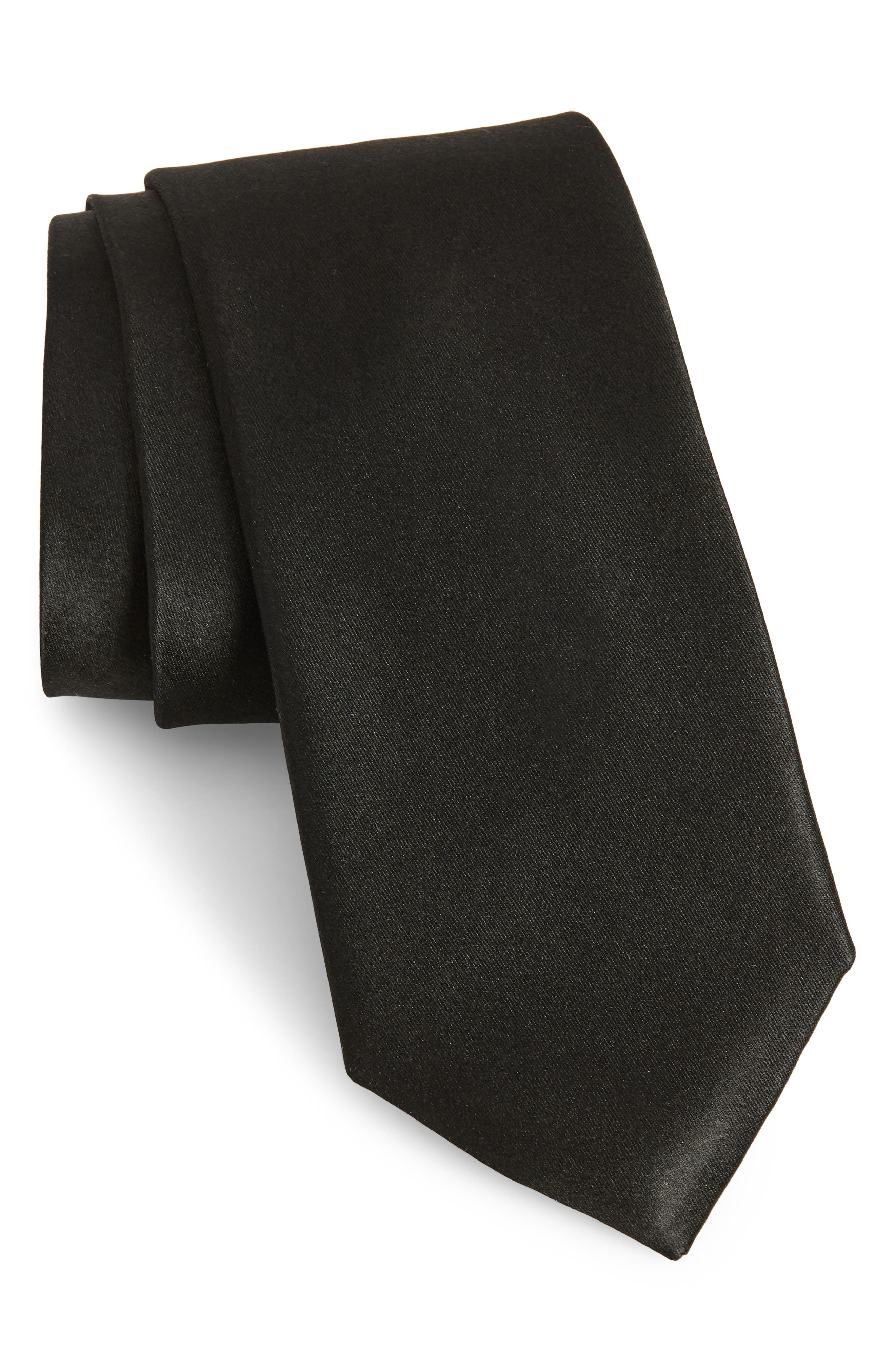 Solid Satin Silk Tie,                             Main thumbnail 1, color,                             BLACK