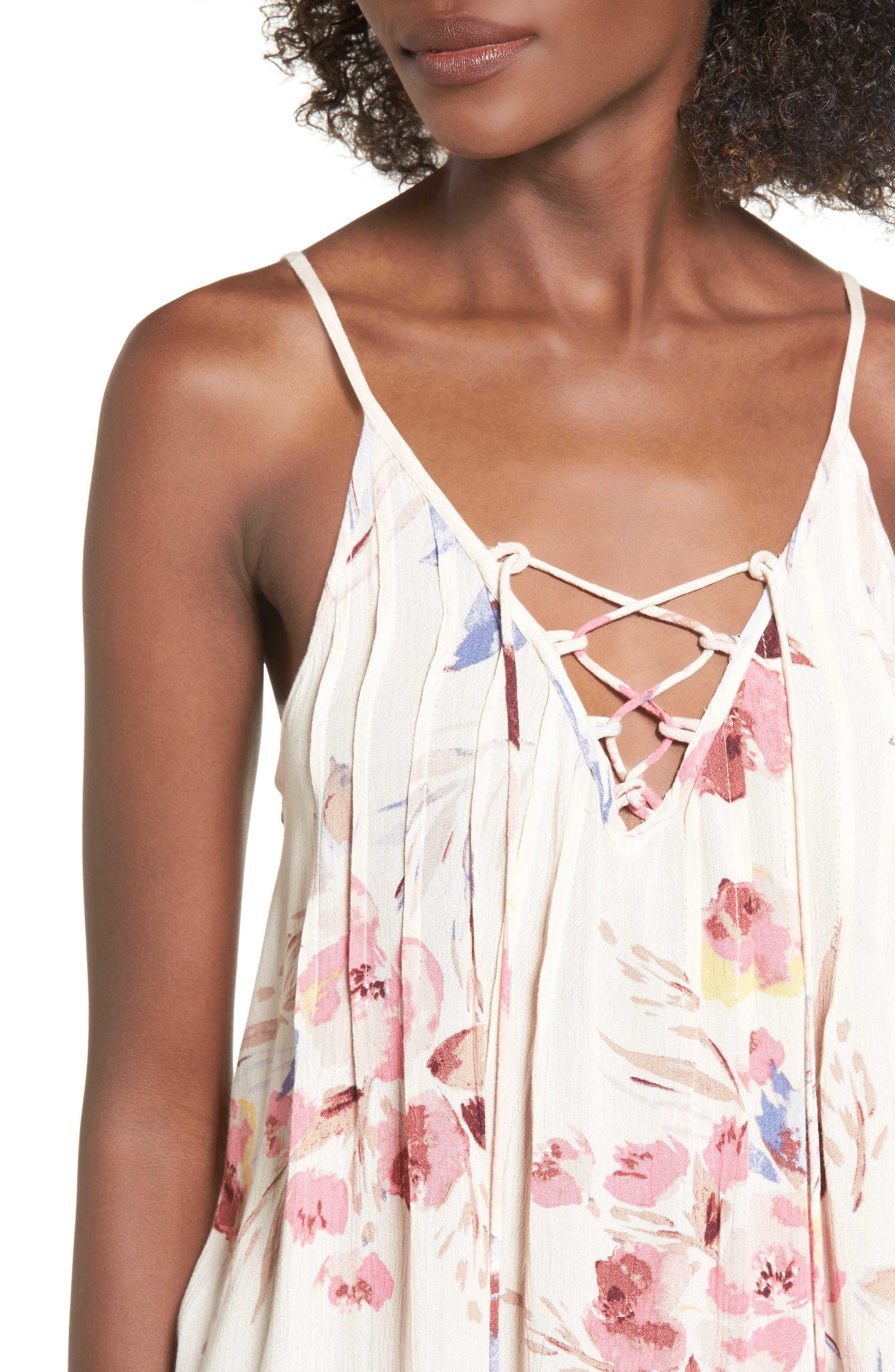 Illusions Of Floral Print Lace-Up Tank,                             Alternate thumbnail 4, color,                             900