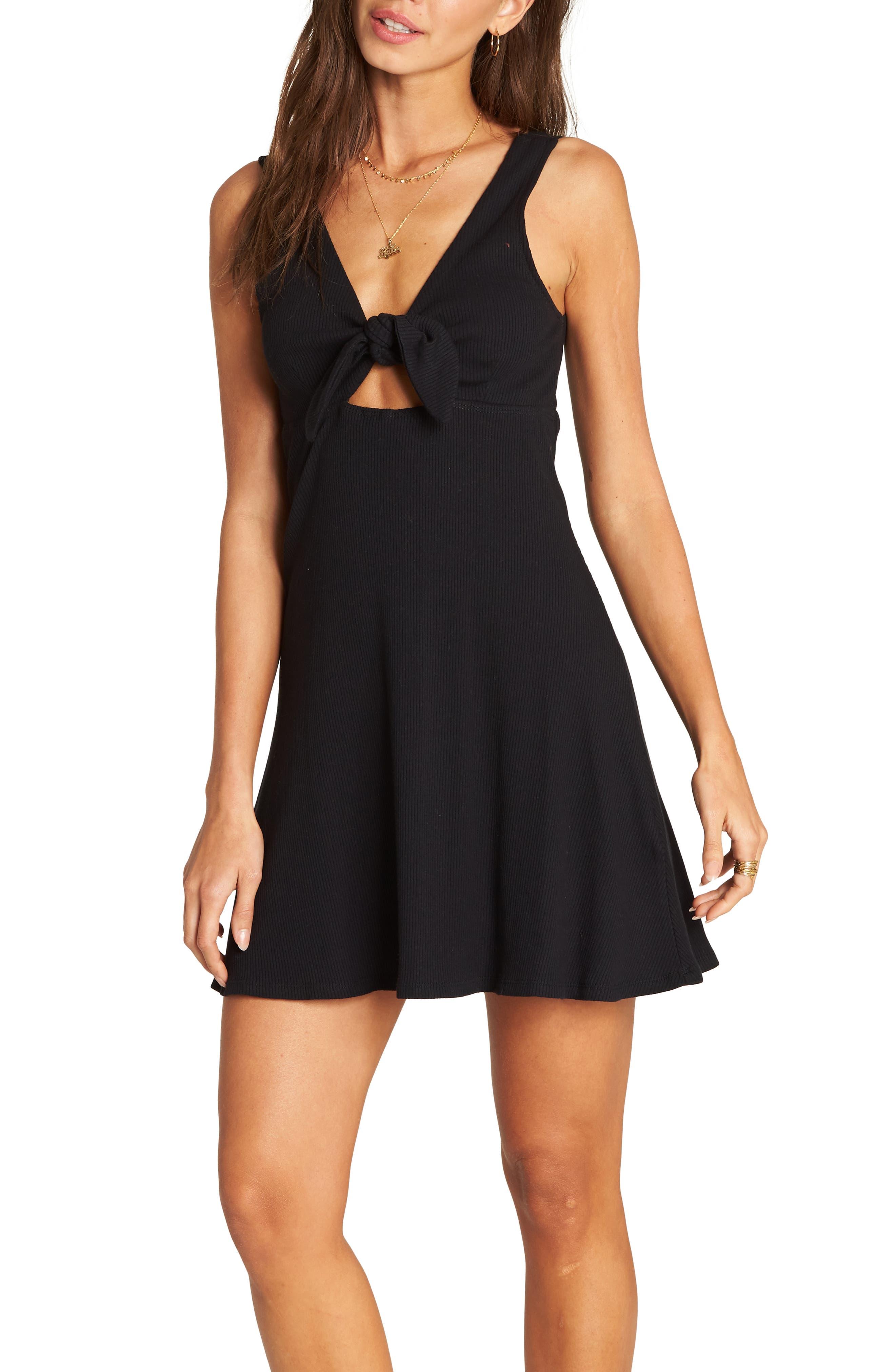 BILLABONG,                             Hola Holiday Cutout Minidress,                             Main thumbnail 1, color,                             BLACK