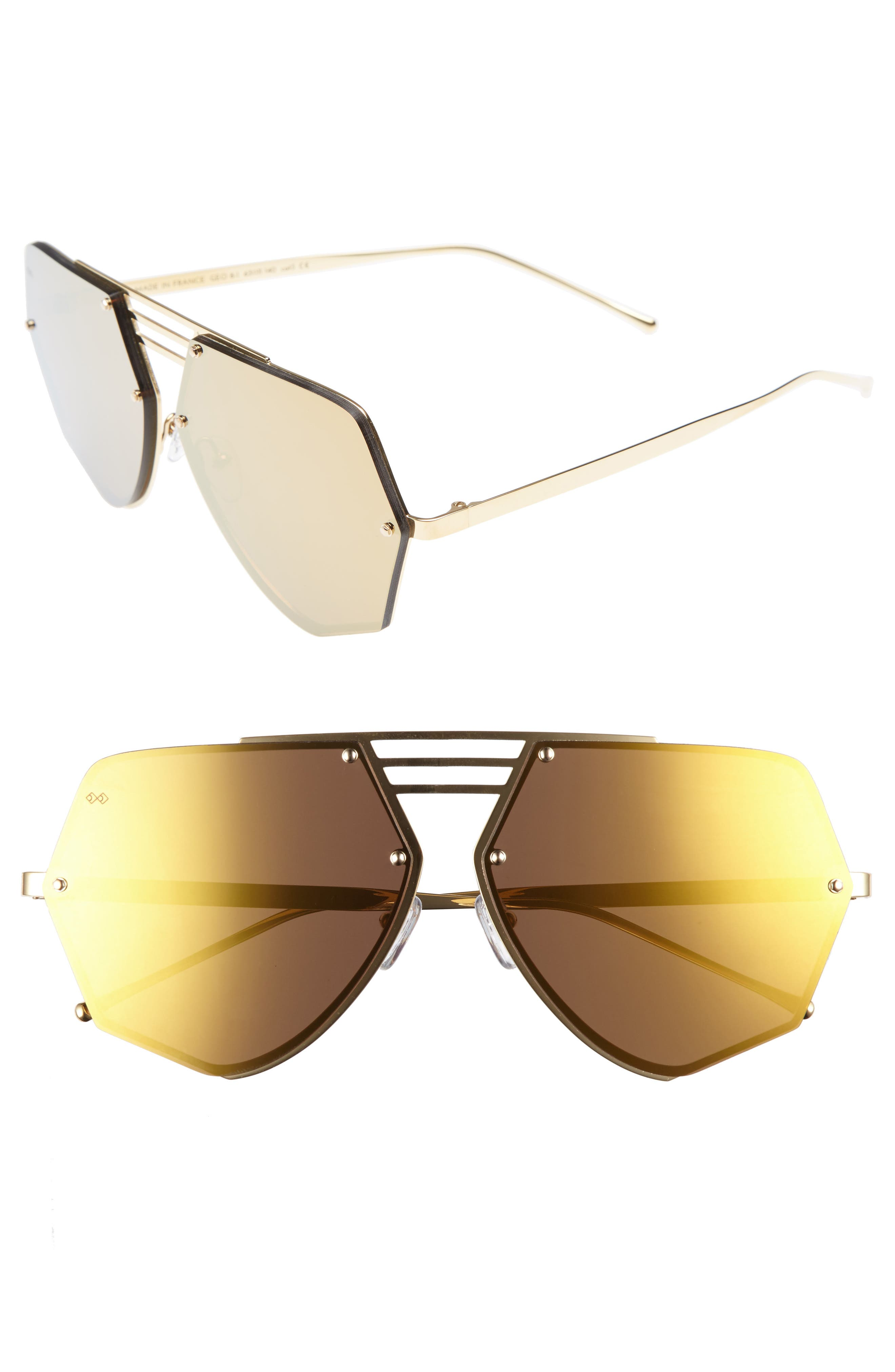 Geo 8 63mm Mirrored Sunglasses,                             Main thumbnail 1, color,                             GOLD/ GOLD MIRROR