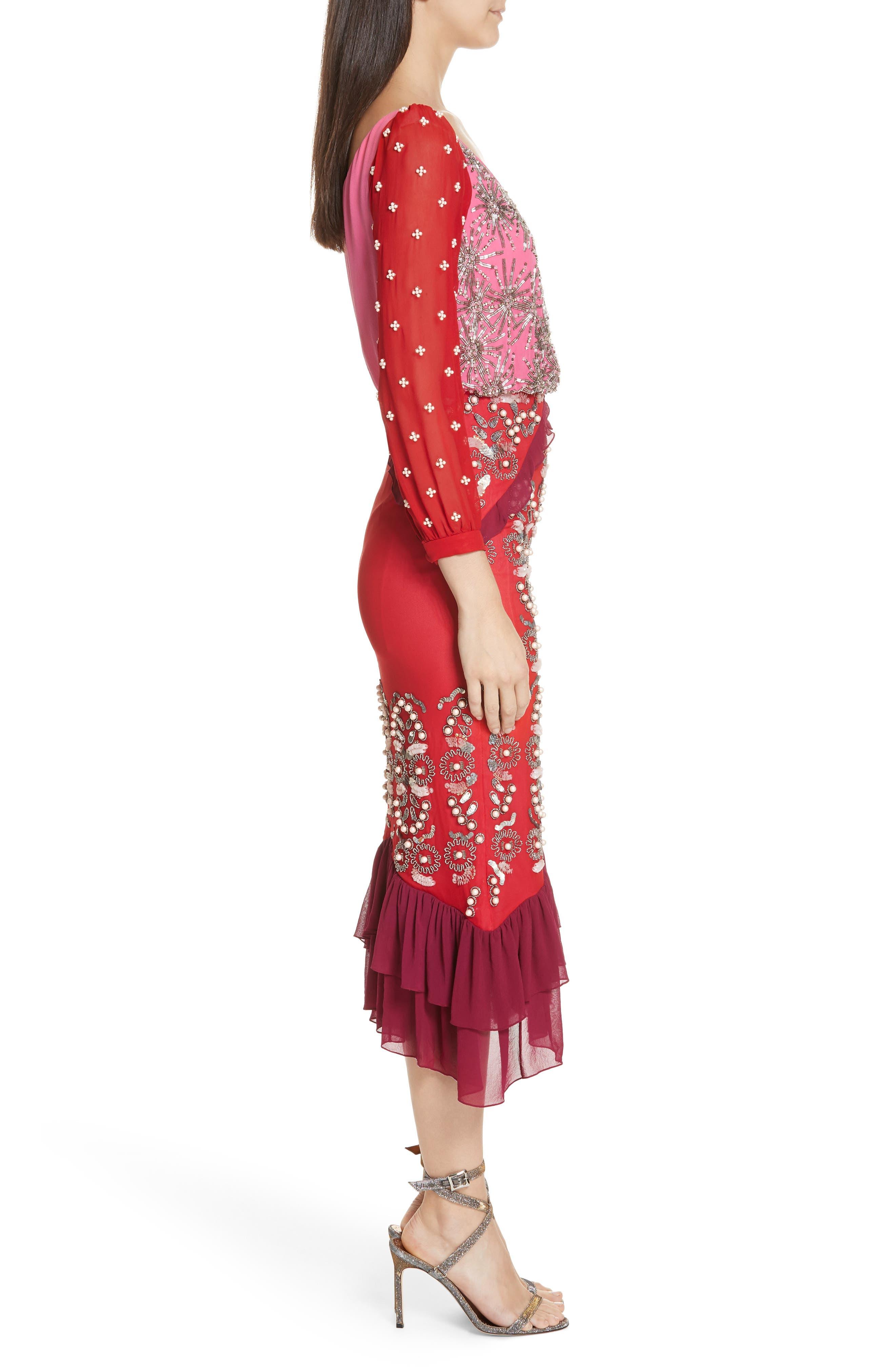 SALONI,                             Isa Beaded Colorblock Silk Midi Dress,                             Alternate thumbnail 3, color,                             PINK/ CHERRY