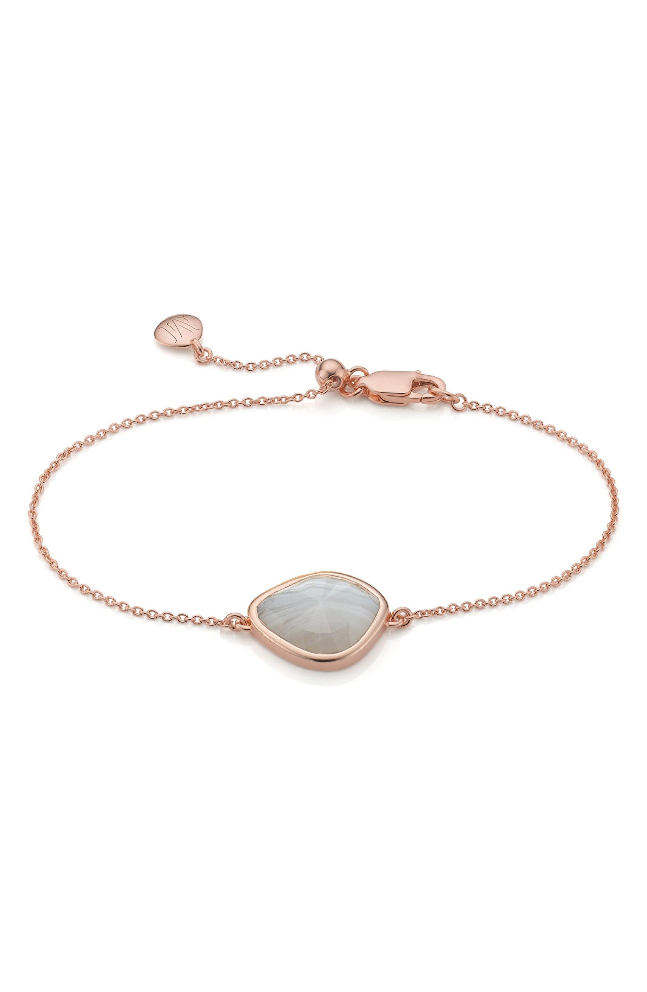 Siren Nugget Bracelet,                             Main thumbnail 1, color,                             GREY AGATE/ ROSE GOLD