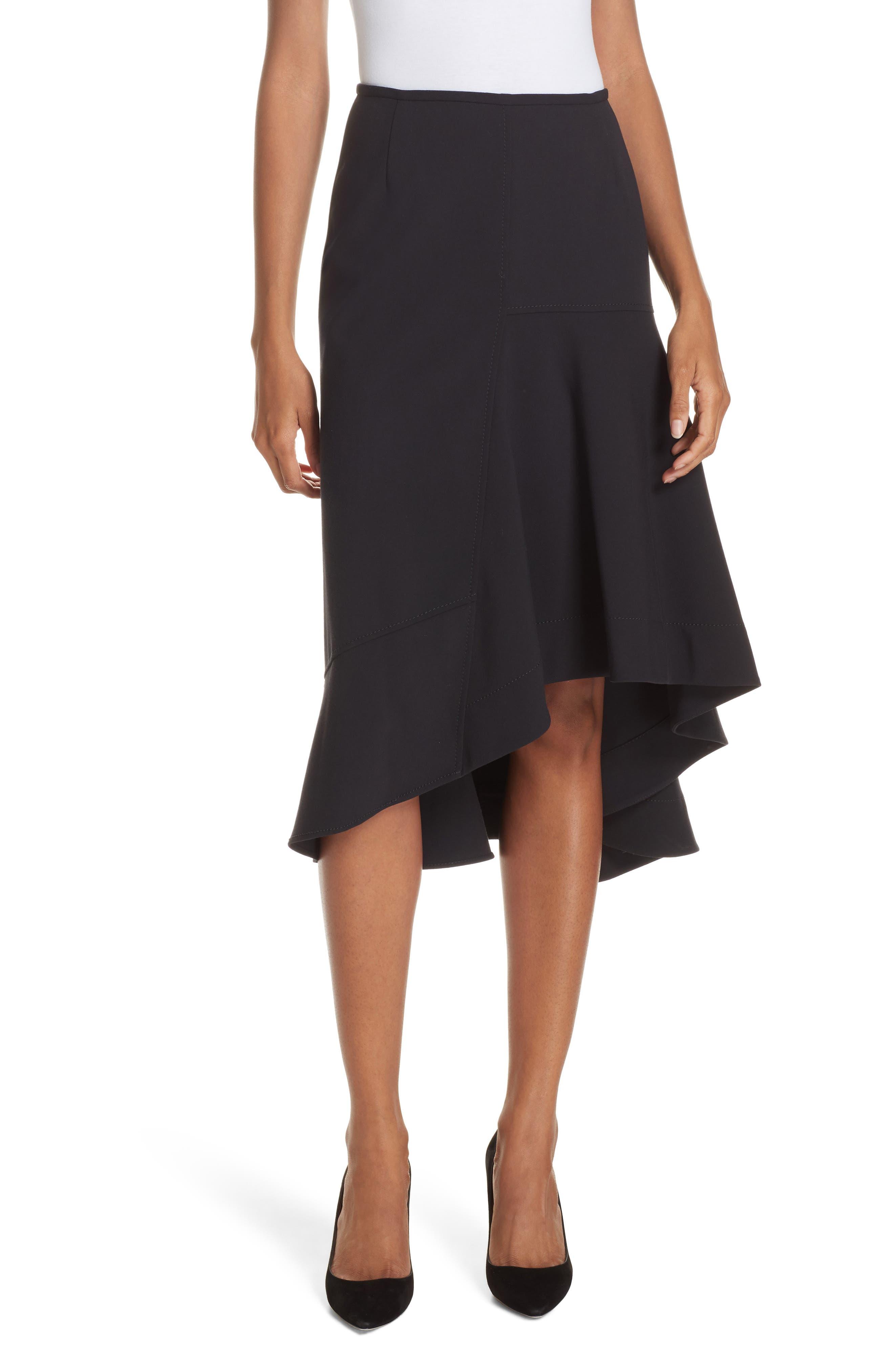 Melepia Asymmetrical Faux Wrap Skirt,                             Main thumbnail 1, color,                             NAVY