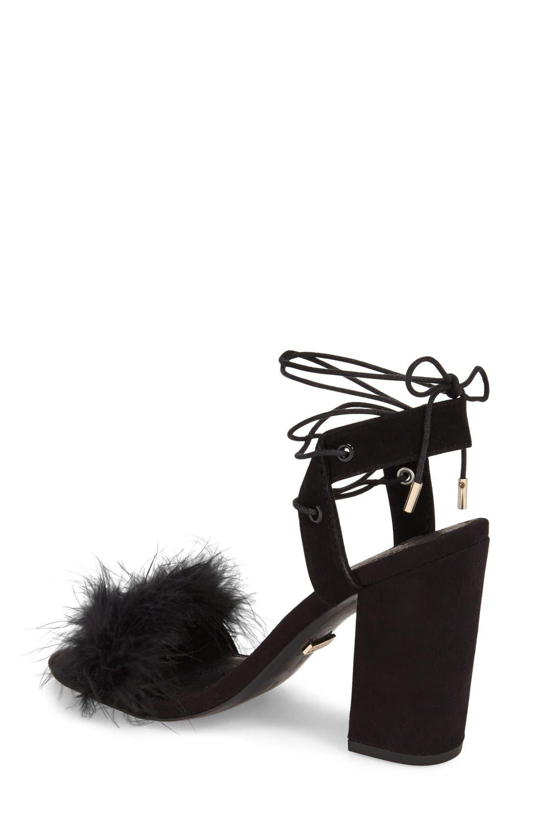 Marabou Feather Lace-Up Sandal,                             Alternate thumbnail 2, color,                             001