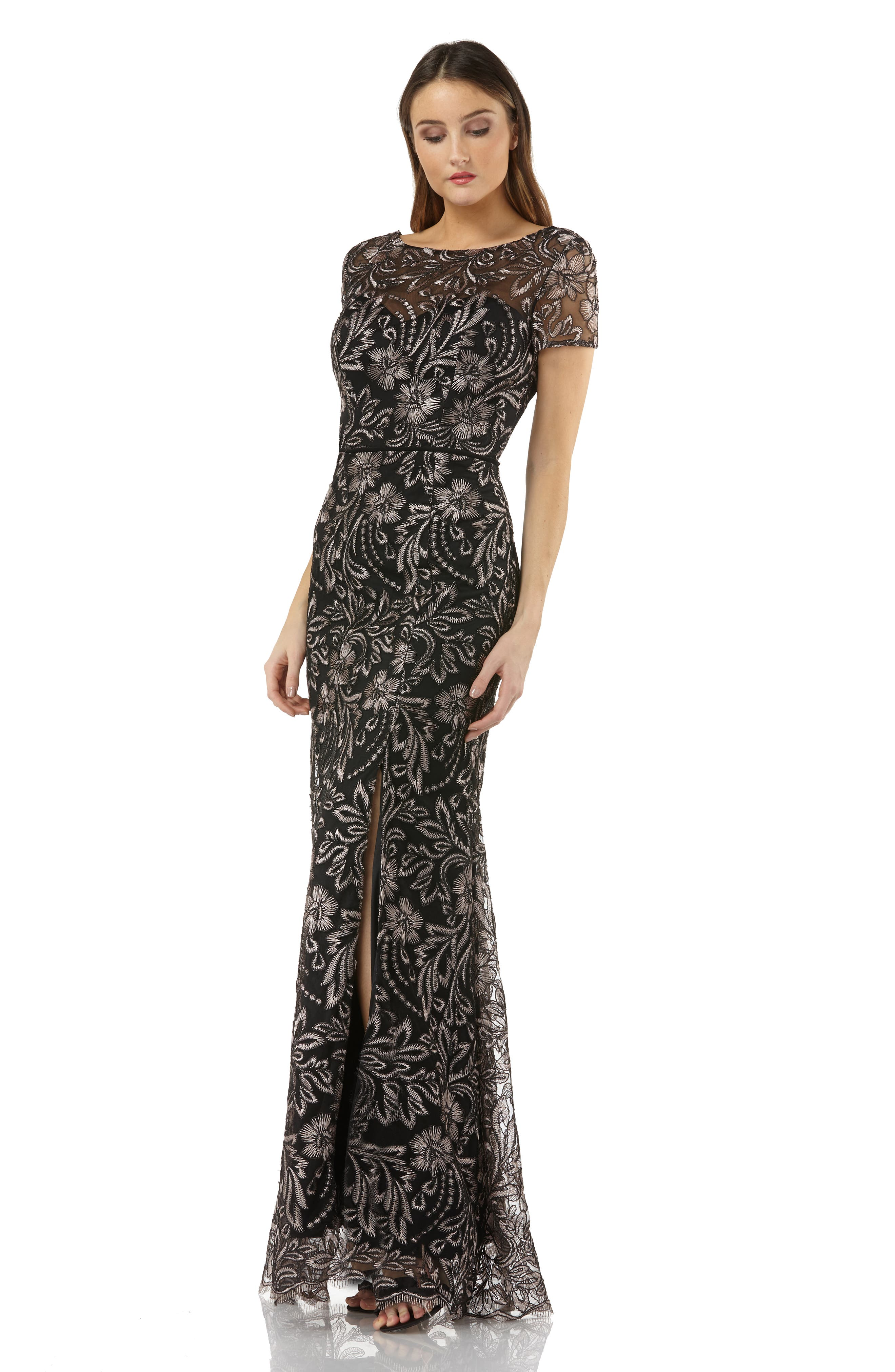 JS COLLECTIONS,                             Embroidered Trumpet Gown,                             Alternate thumbnail 4, color,                             001