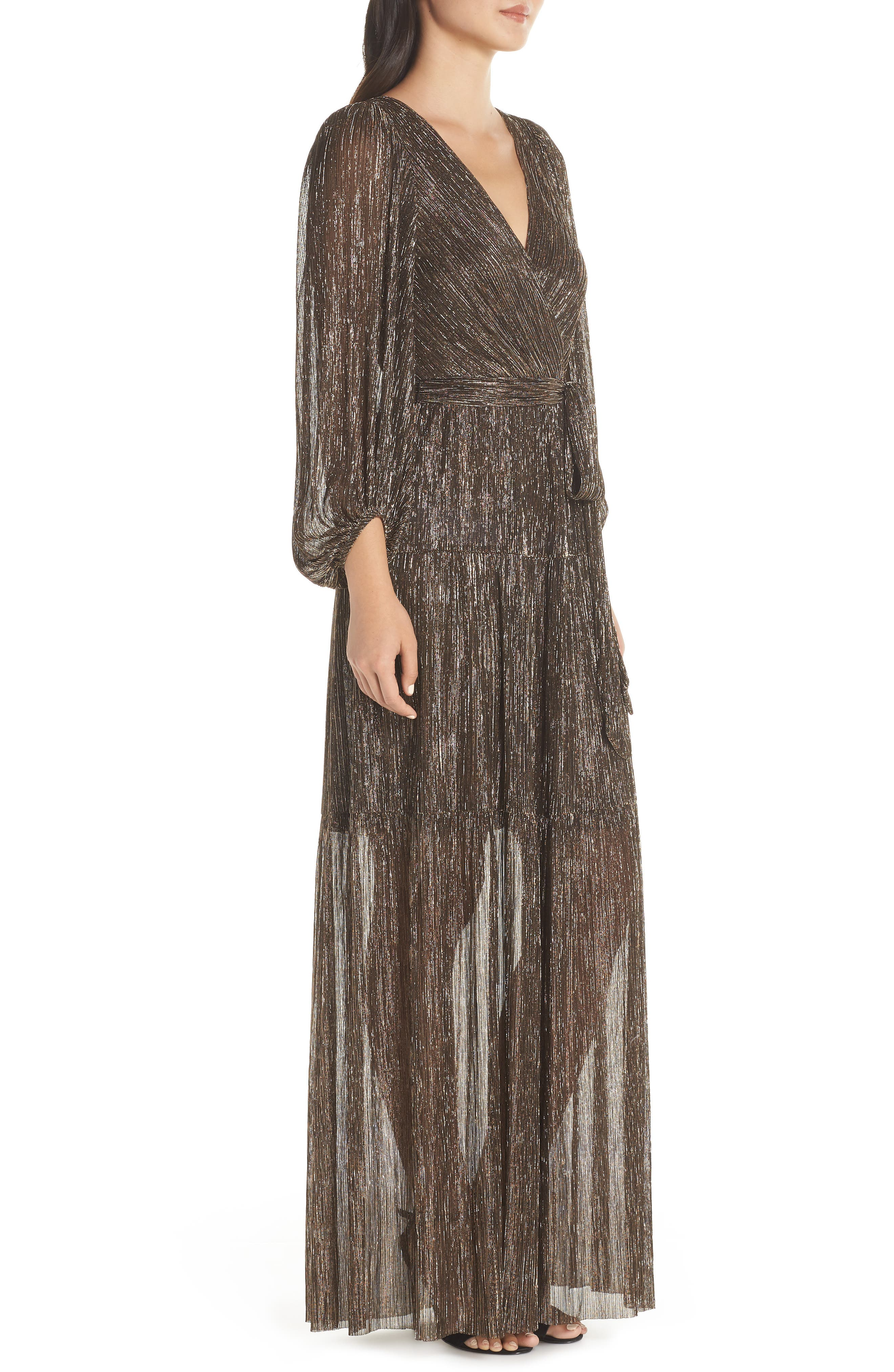 ELIZA J,                             Backless Metallic Maxi Wrap Dress,                             Alternate thumbnail 4, color,                             GOLD