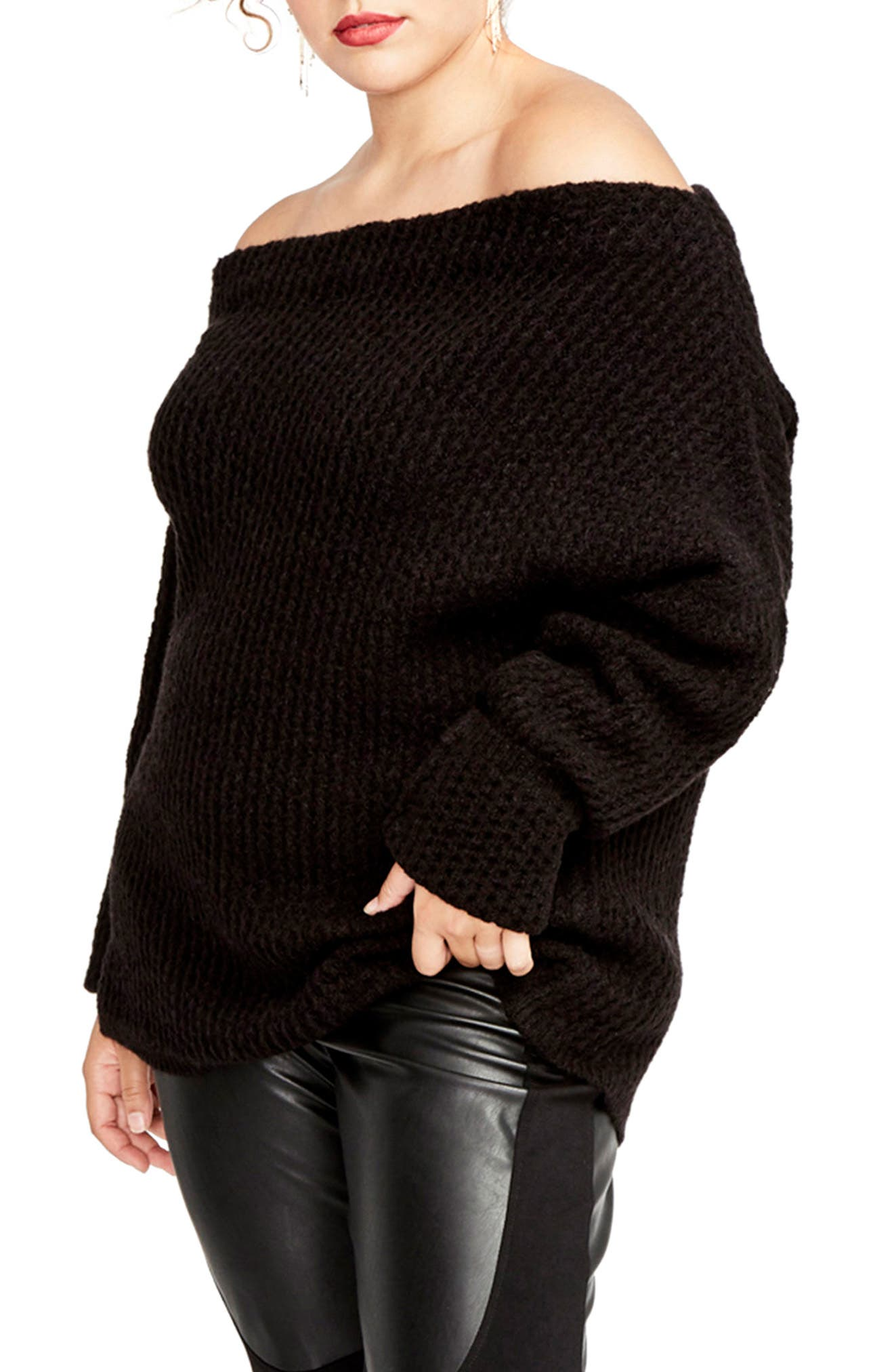 Off the Shoulder Sweater,                             Alternate thumbnail 3, color,                             001