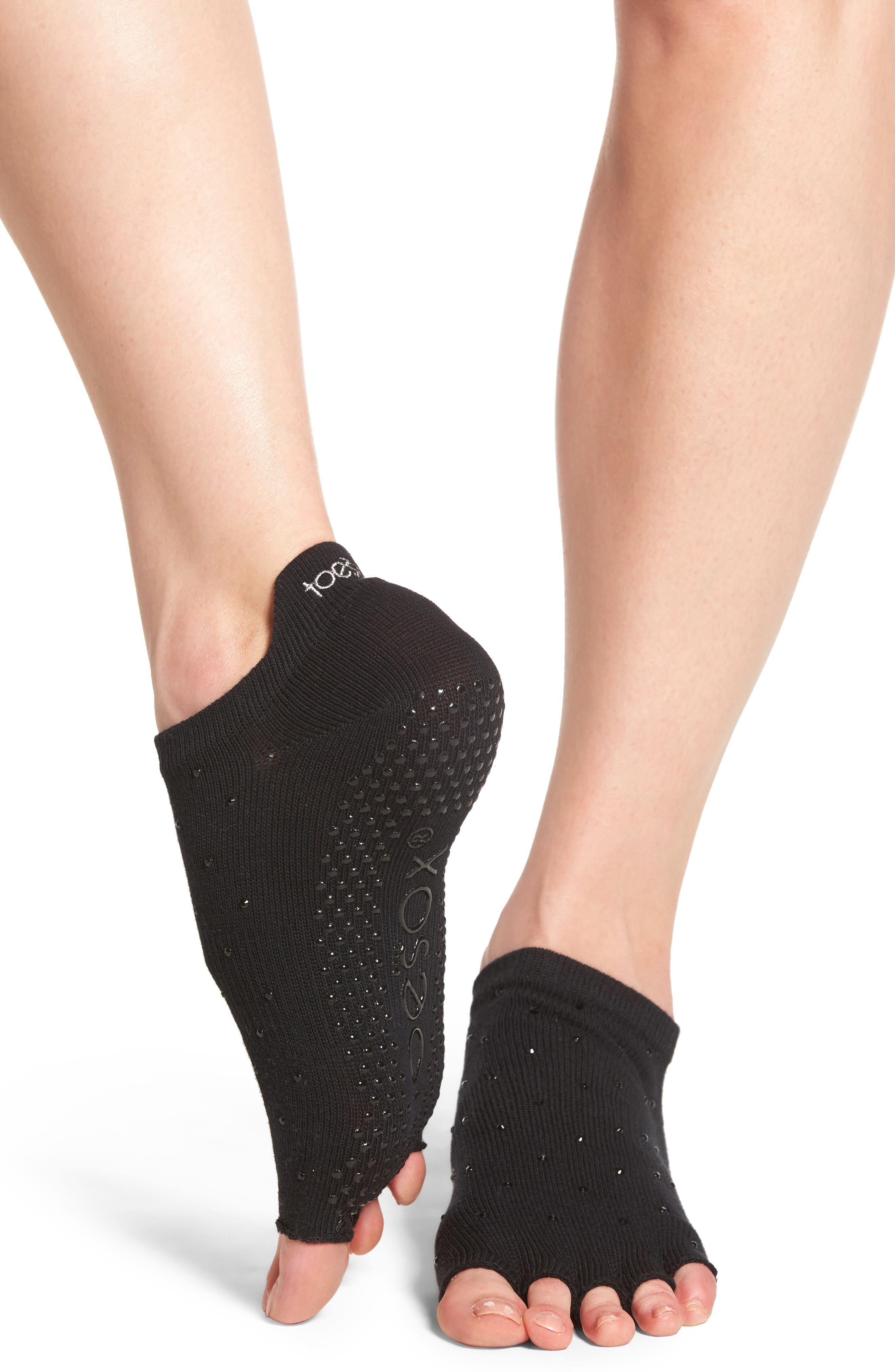 Half Toe Low Rise Grip Socks,                             Alternate thumbnail 2, color,                             001