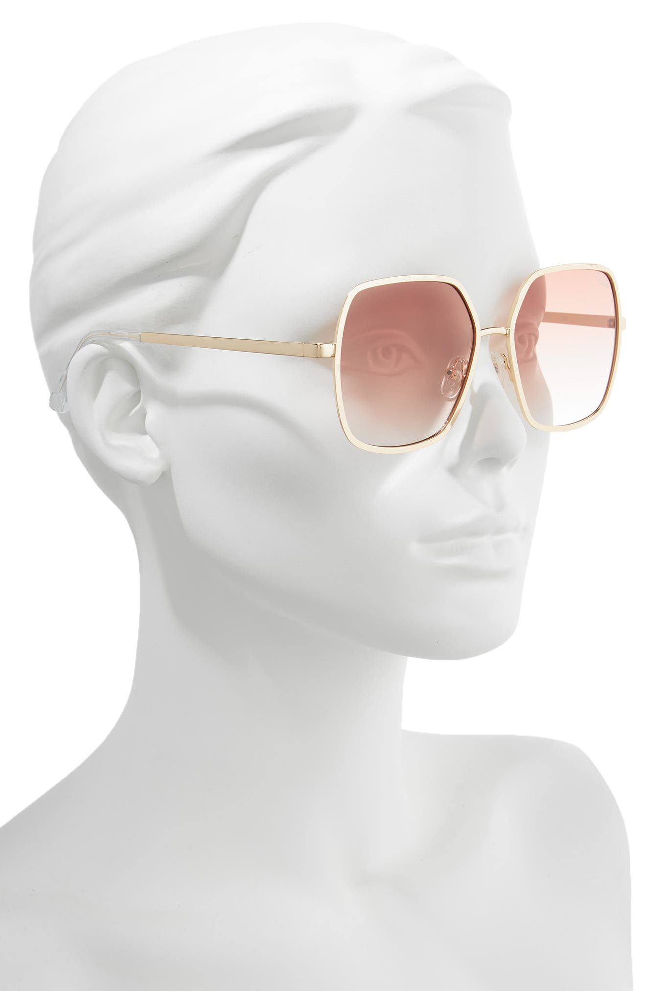 Undercover 57mm Square Sunglasses,                             Alternate thumbnail 2, color,                             GOLD/ PEACH