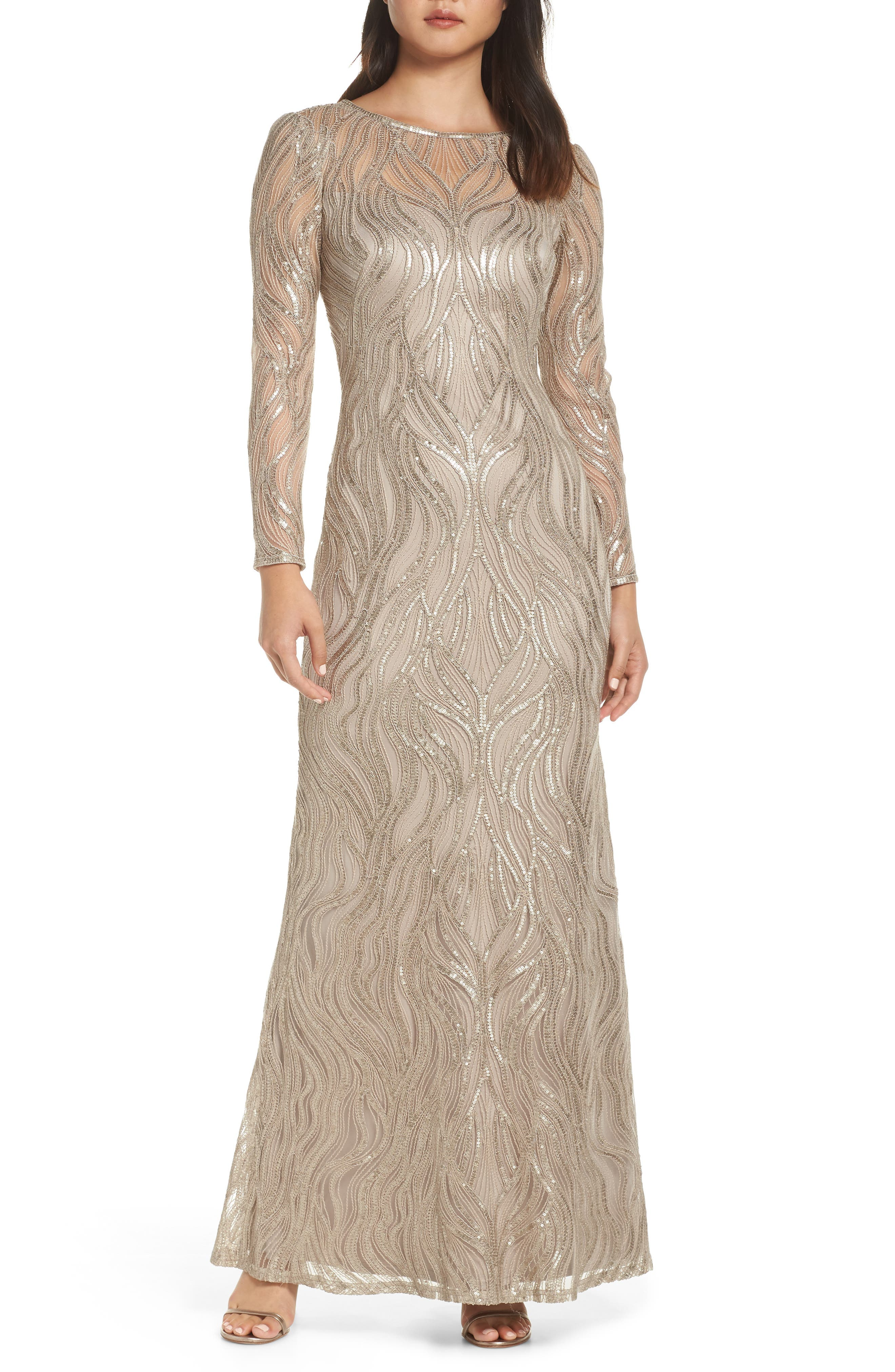 Tadashi Shoji Long Sleeve Sequined Mesh Evening Dress, Beige