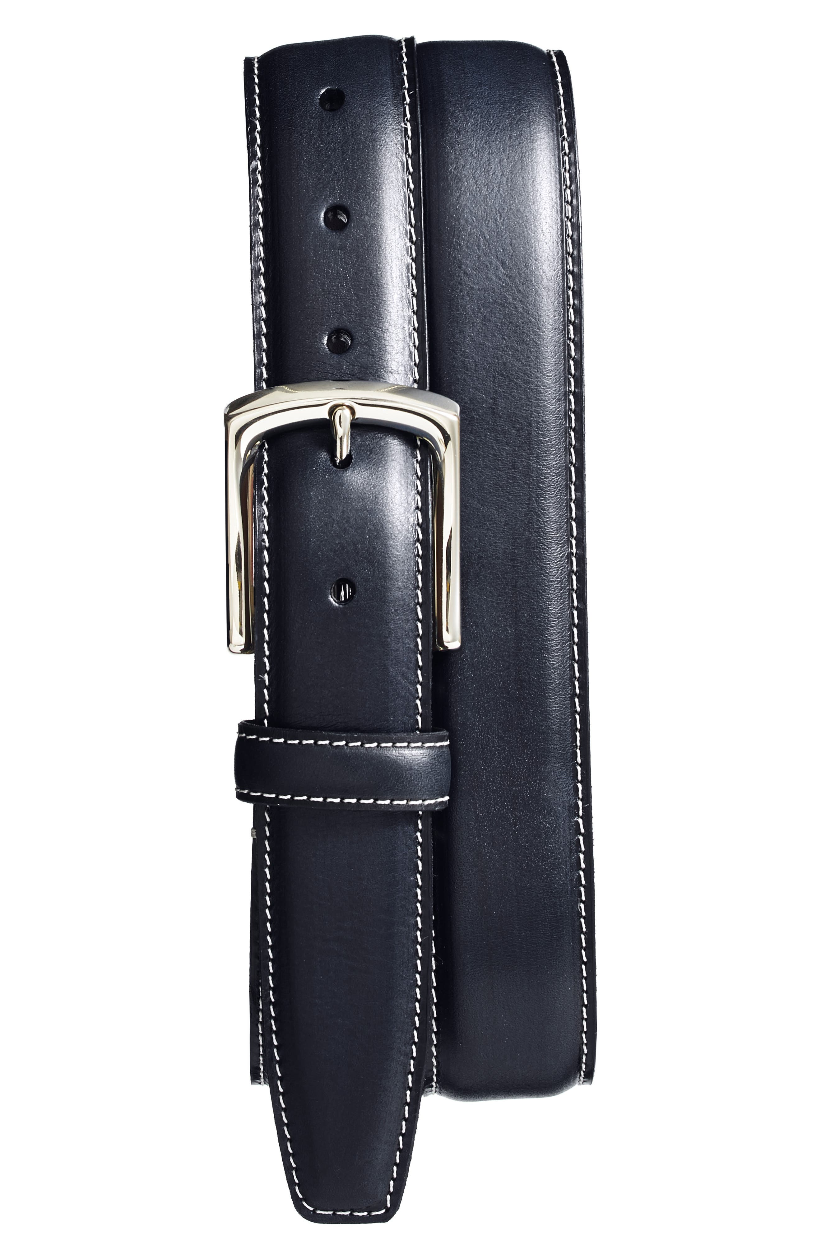 Torino Belts Burnished Leather Belt, Navy