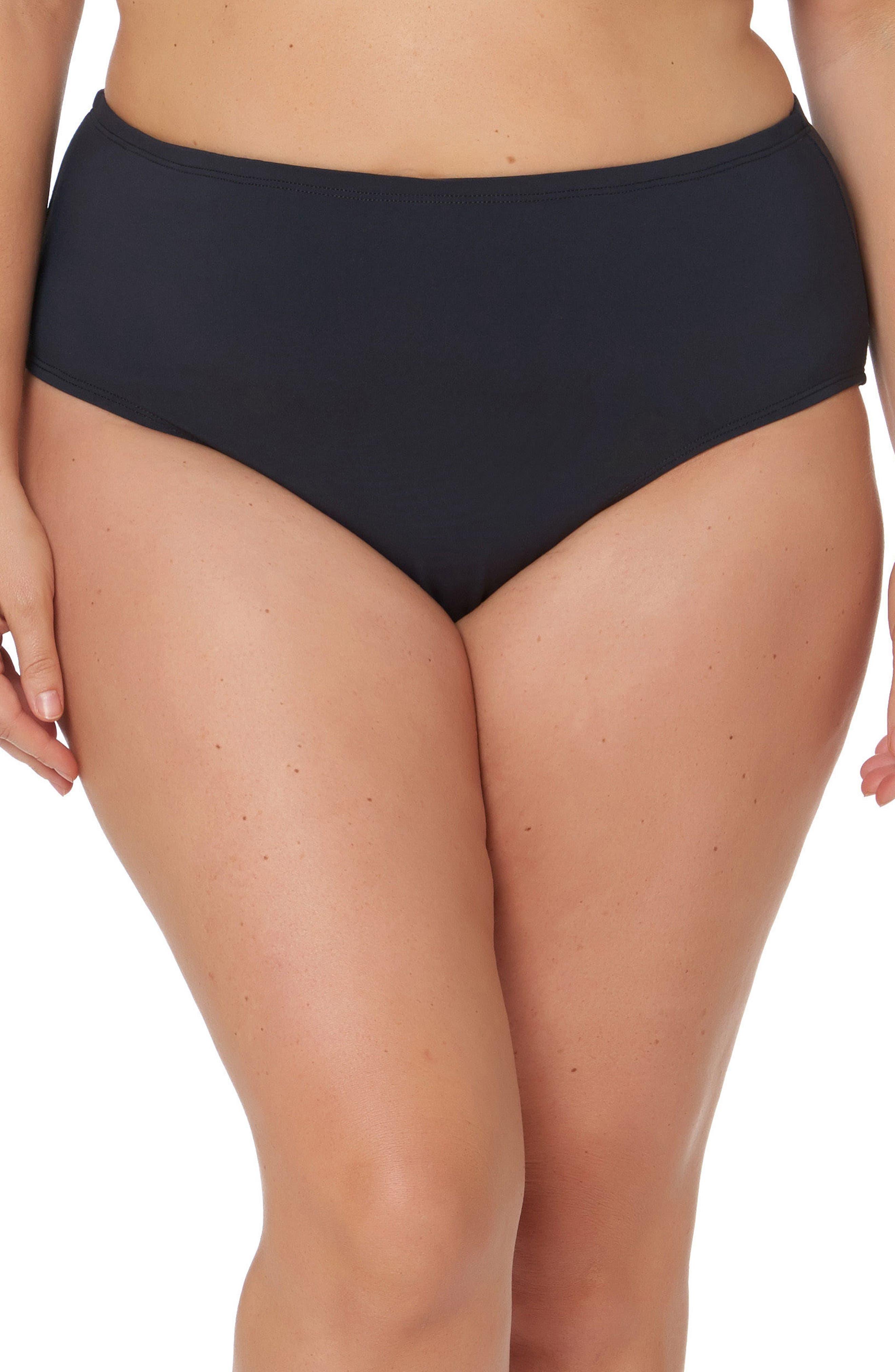 Plus Size Bleu By Rod Beattie High Waist Bikini Bottoms, Black