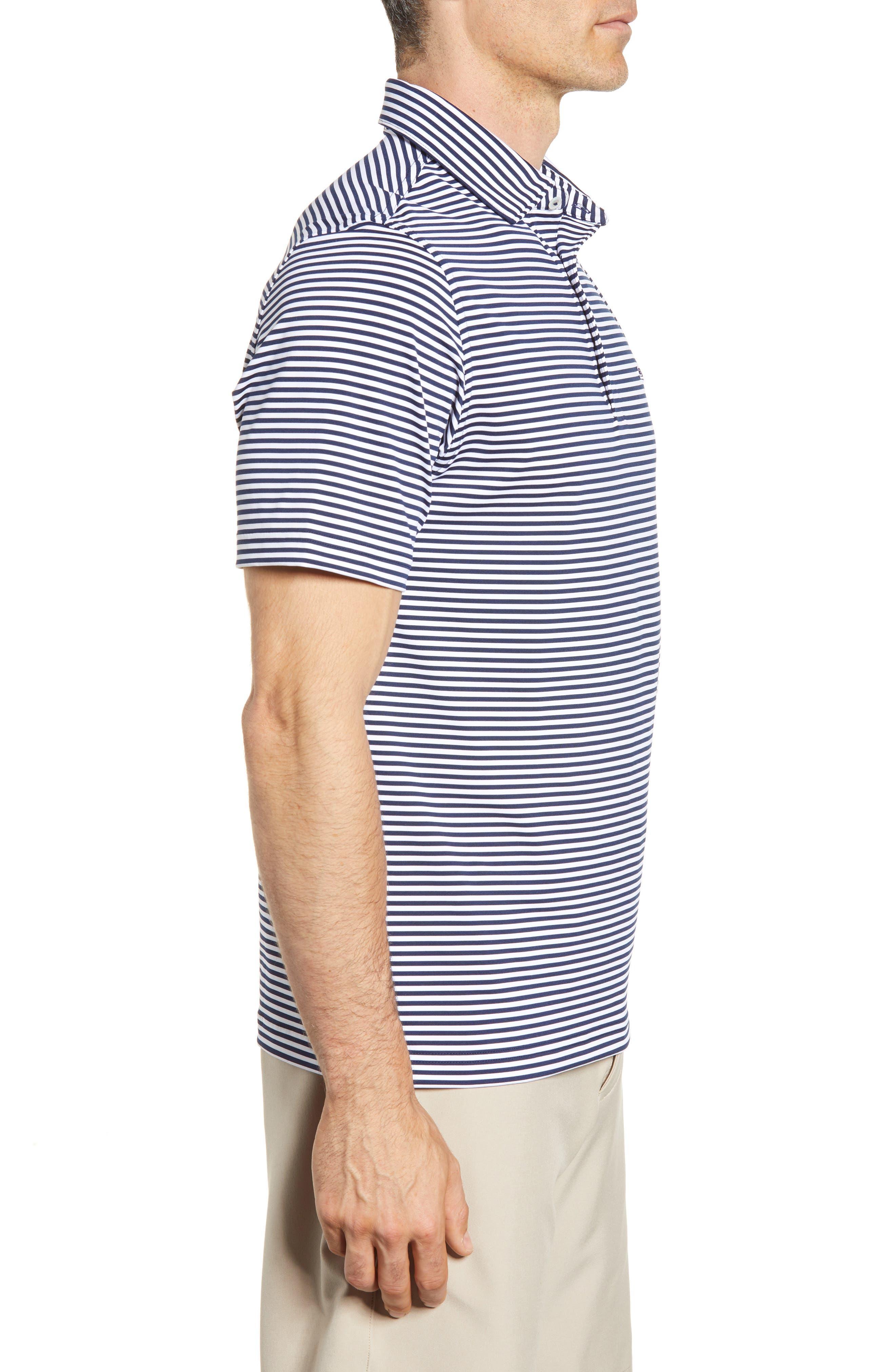 Color to White Feeder Stripe Polo,                             Alternate thumbnail 3, color,                             976