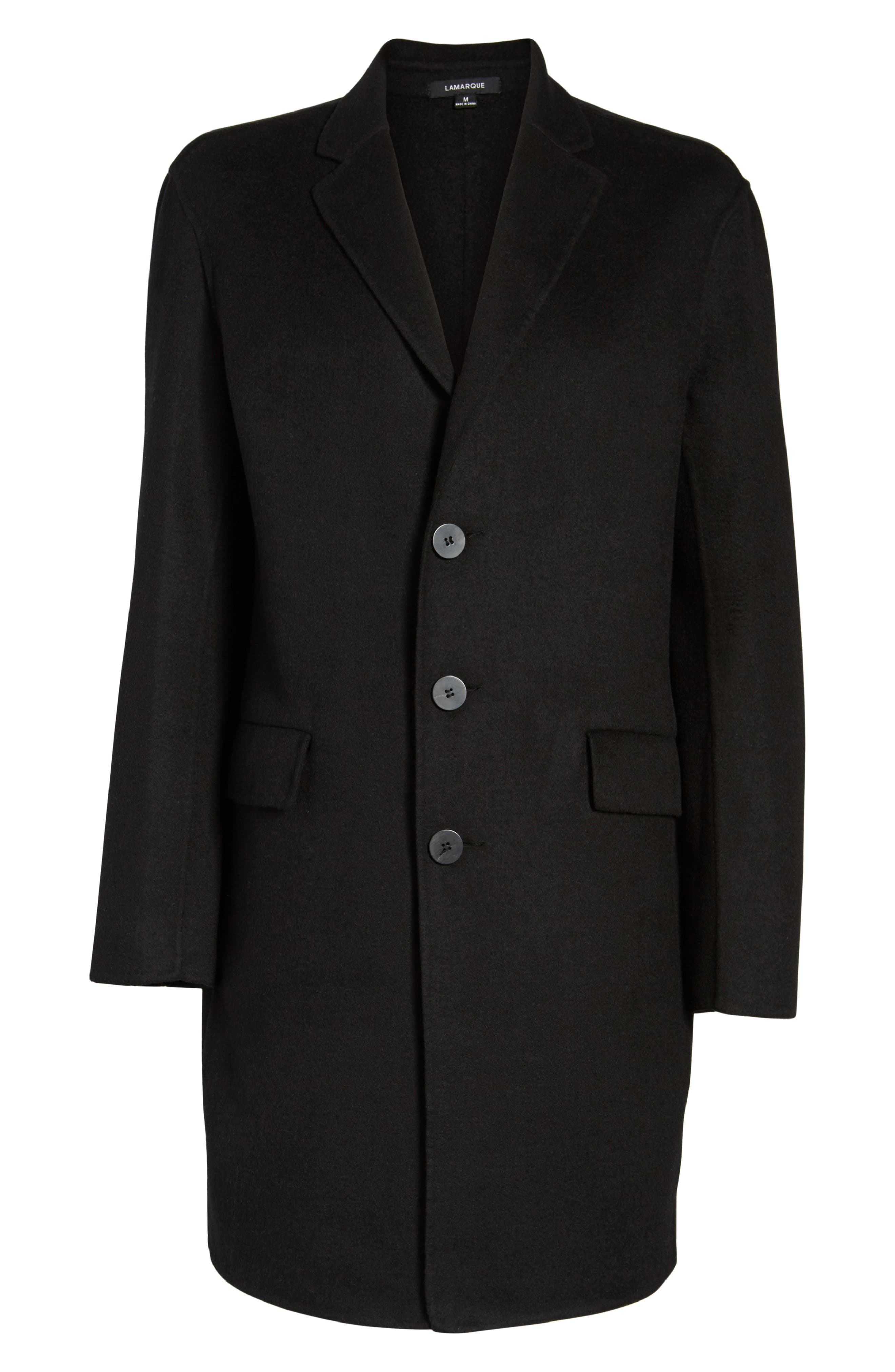 Wool Blend Topcoat,                             Alternate thumbnail 5, color,                             BLACK