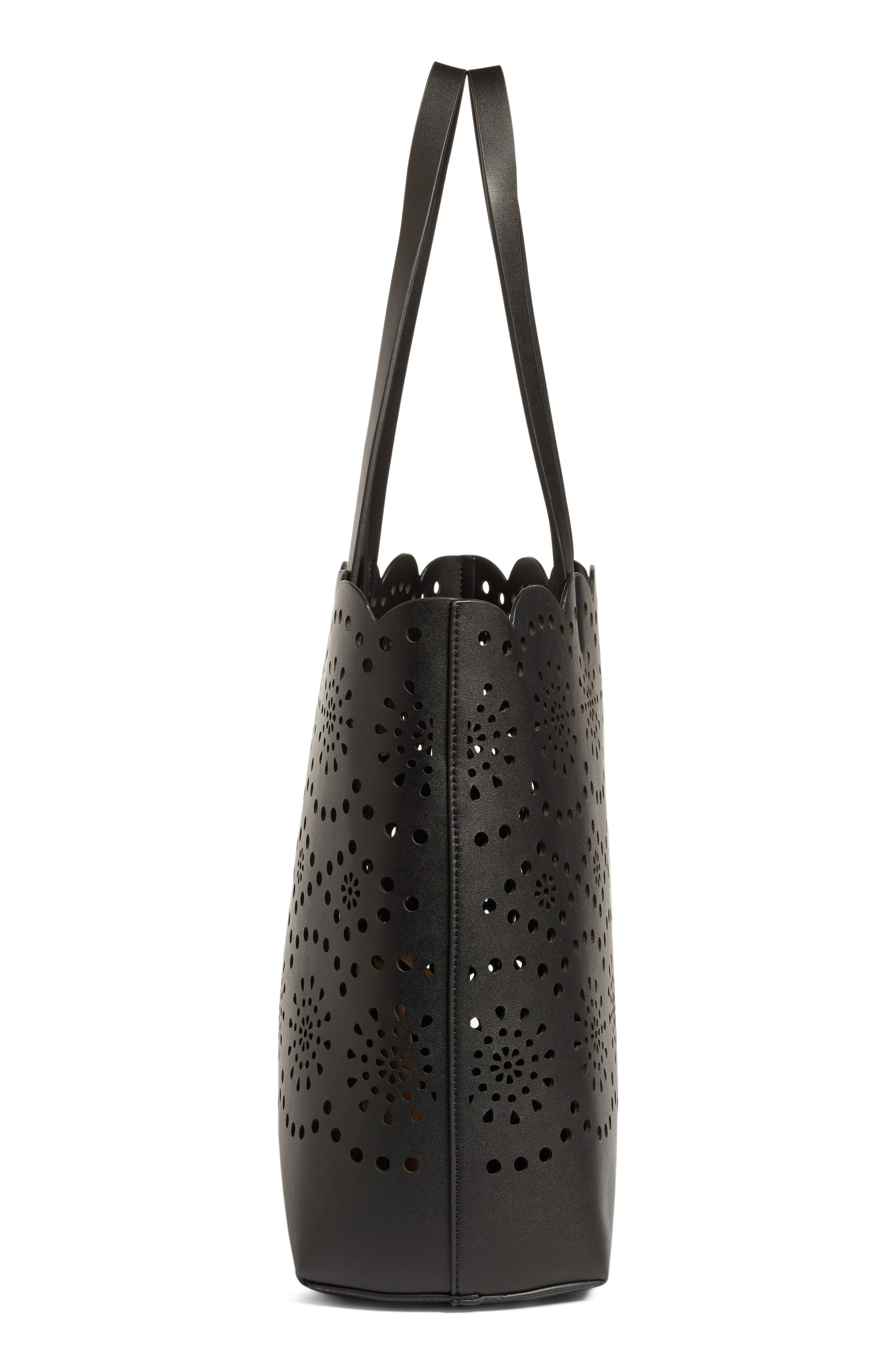 Lily Scallop Faux Leather Tote,                             Alternate thumbnail 5, color,                             001