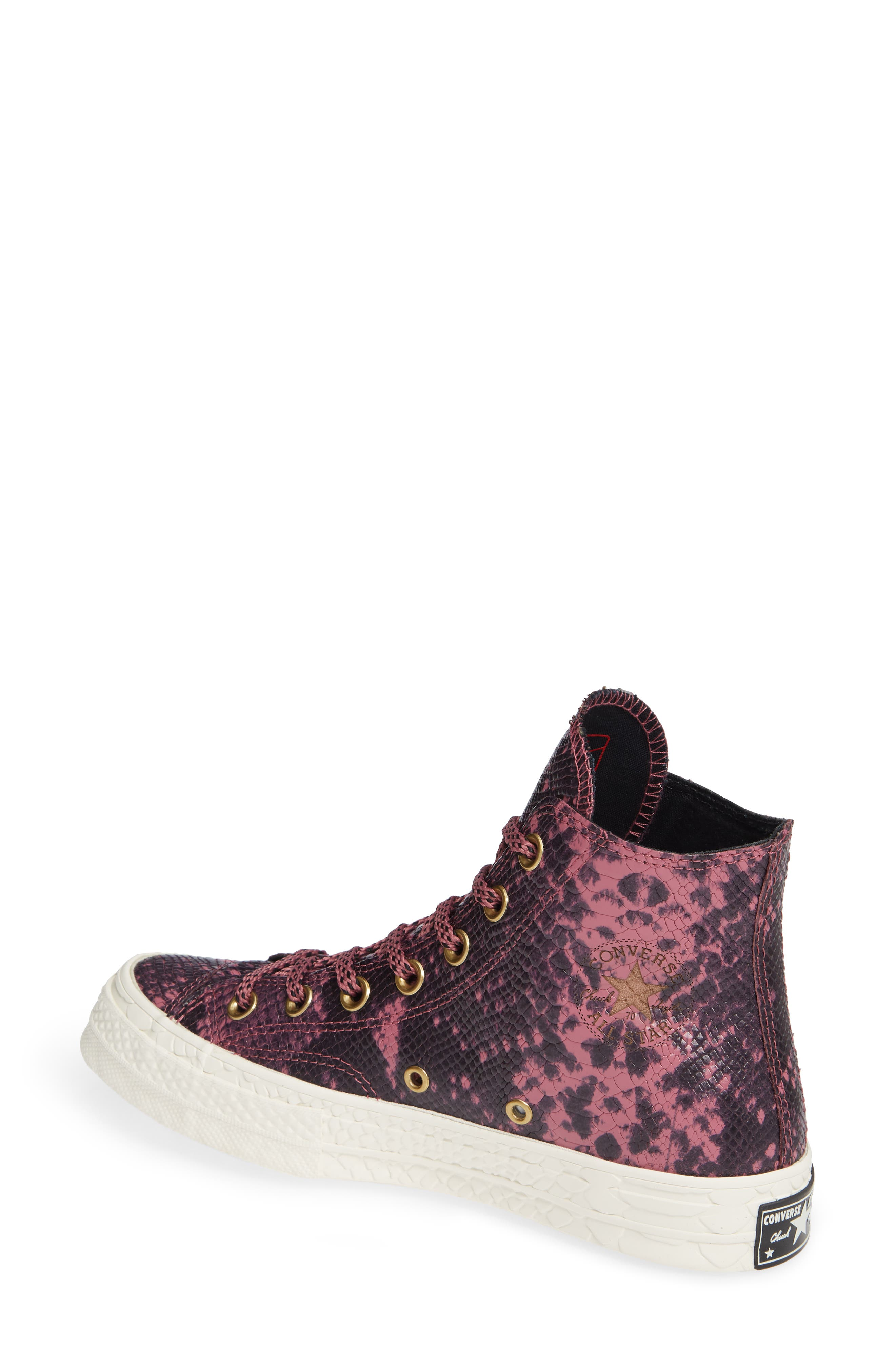 Chuck Taylor<sup>®</sup> All Star<sup>®</sup> CT 70 Reptile High Top Sneaker,                             Alternate thumbnail 2, color,                             VINTAGE WINE LEATHER