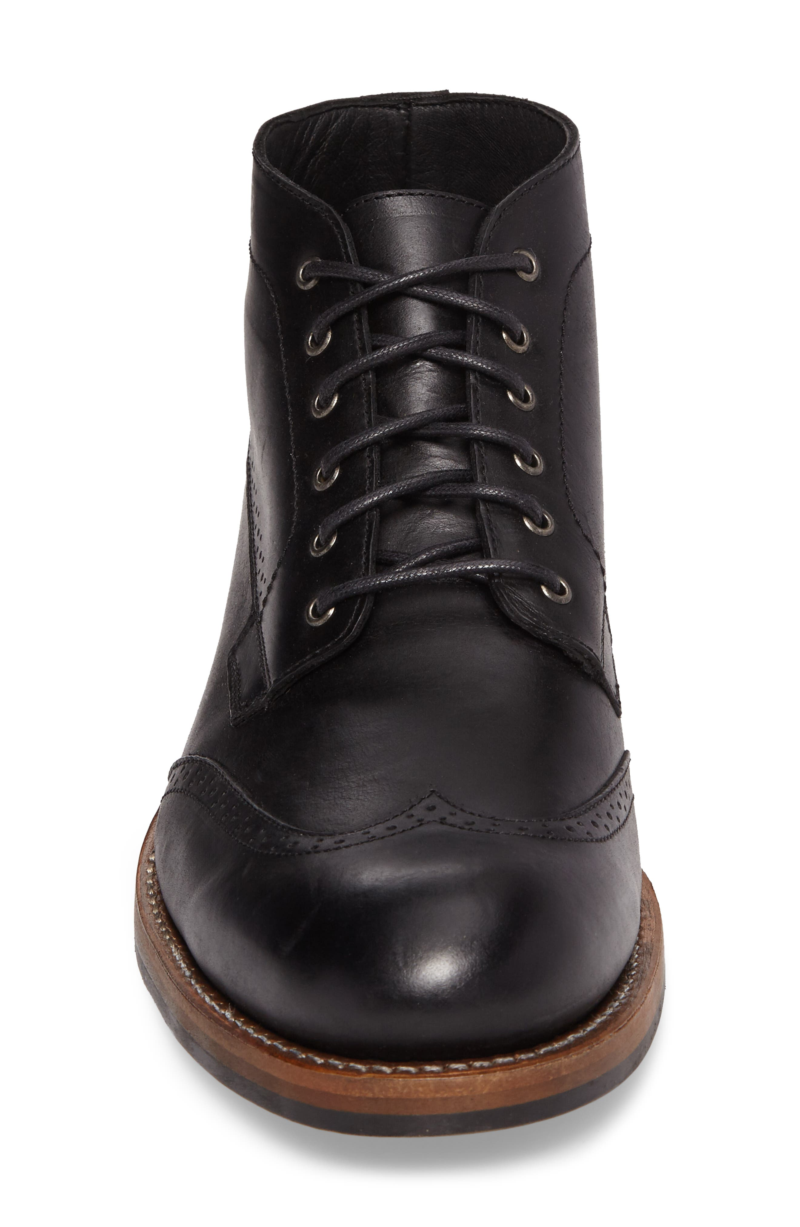 Harwell Wingtip Boot,                             Alternate thumbnail 4, color,                             BLACK