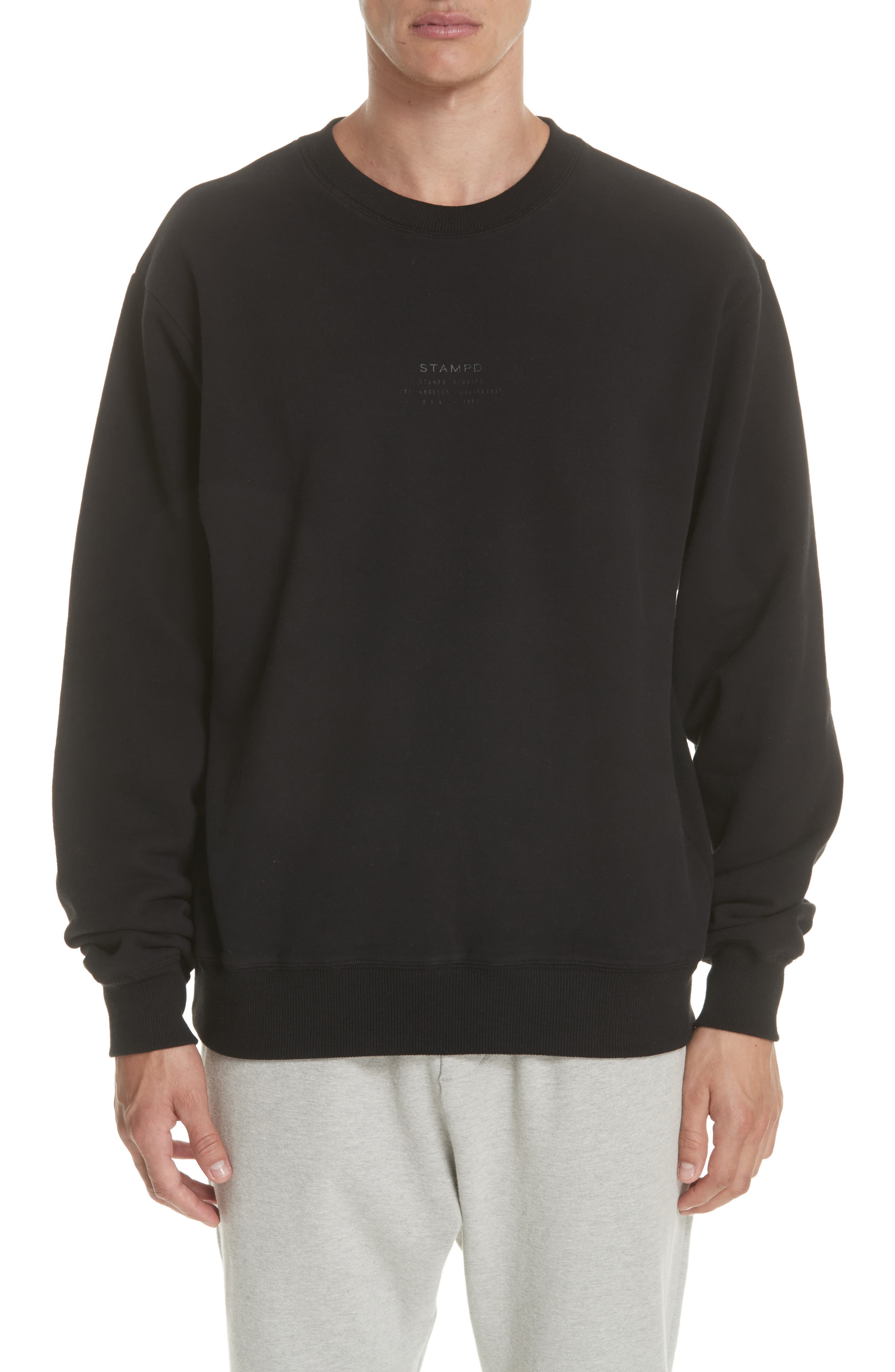 Crewneck Sweatshirt,                         Main,                         color, BLACK