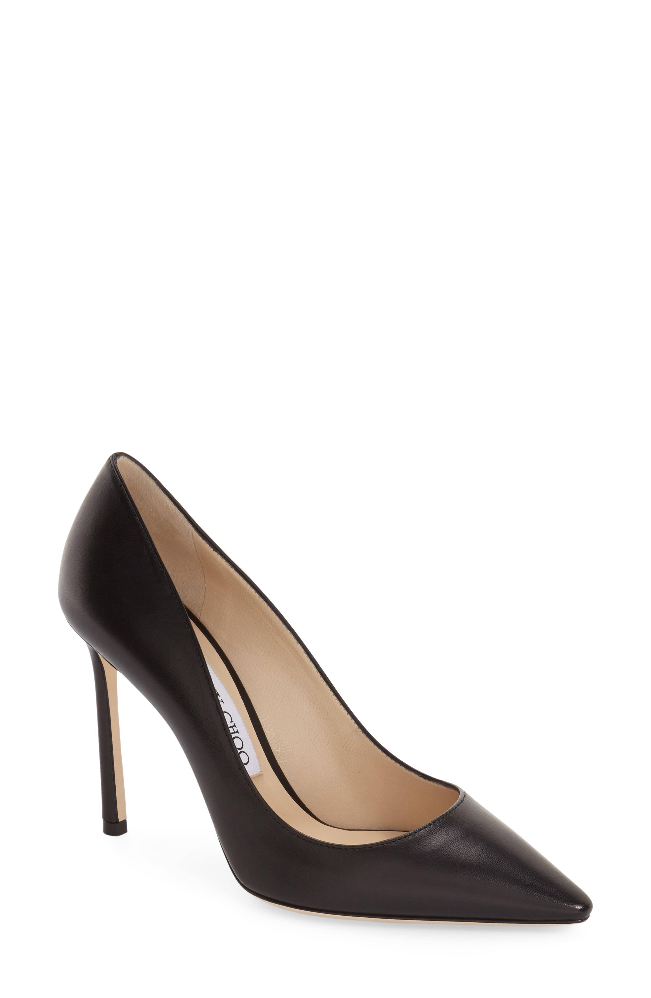 'Romy' Pointy Toe Pump,                             Main thumbnail 1, color,                             BLACK LEATHER