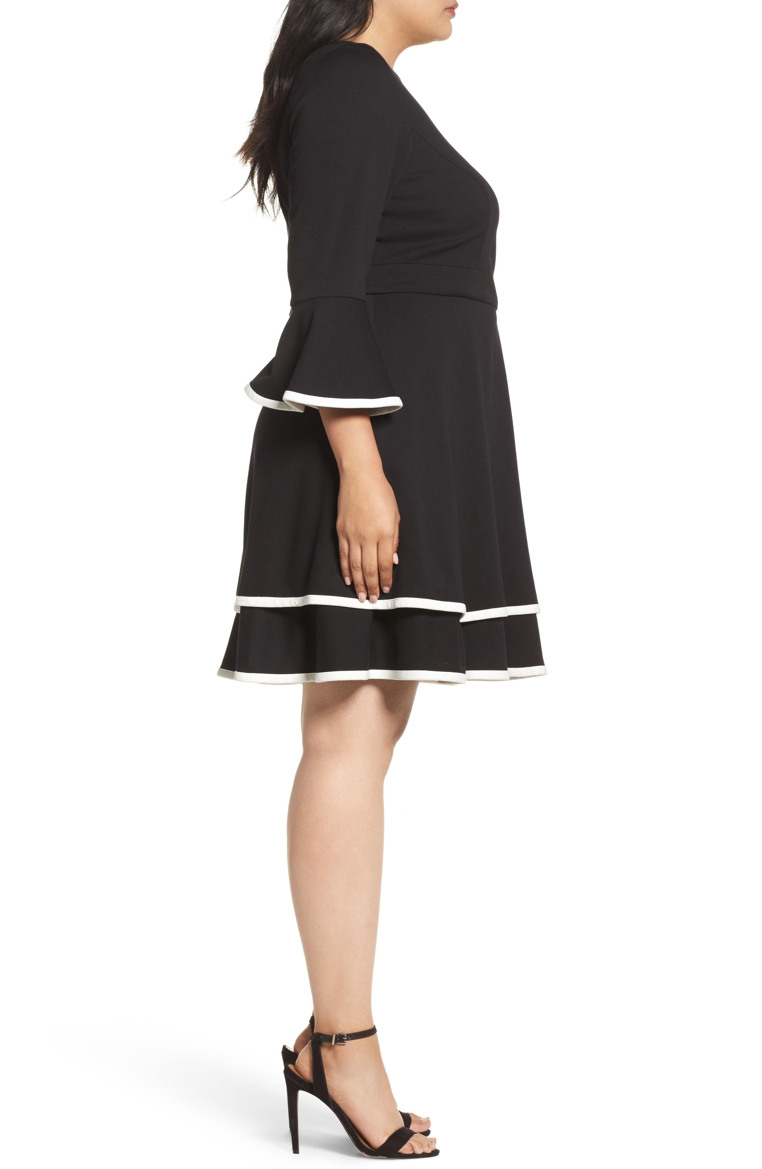 Bell Sleeve Contrast Trim Fit & Flare Dress,                             Alternate thumbnail 3, color,                             BLACK/ IVORY