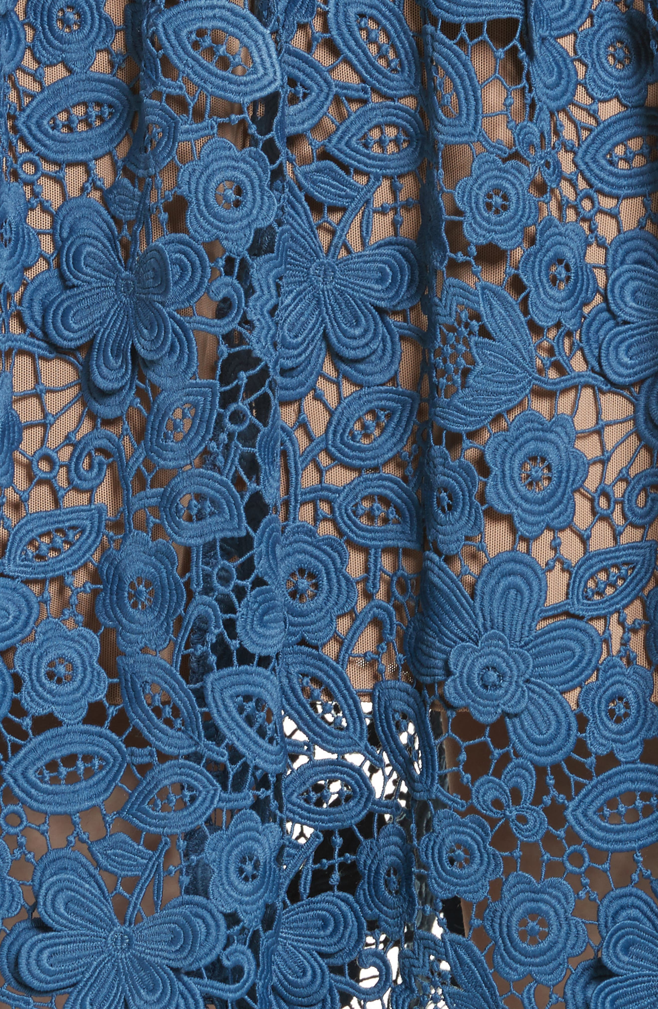 Azaelea 3D Lace Fit & Flare Dress,                             Alternate thumbnail 5, color,                             SLATE BLUE