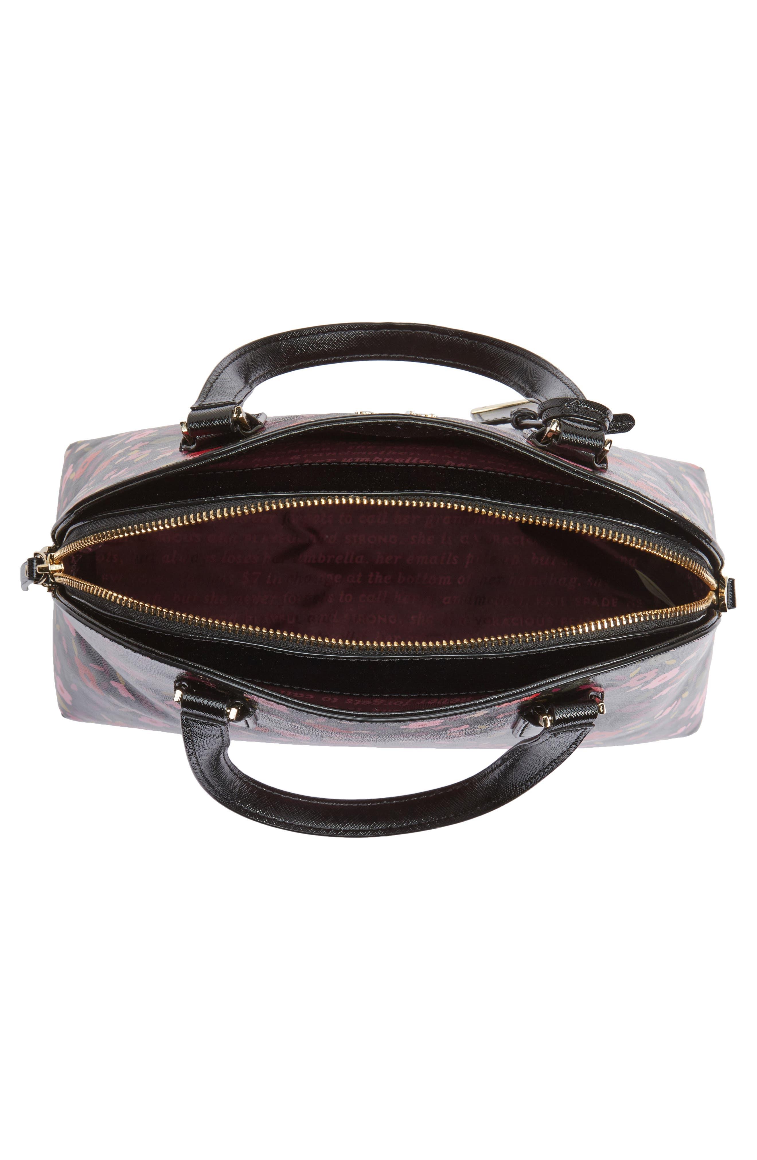 cameron street boho floral- lottie leather satchel,                             Alternate thumbnail 4, color,                             001