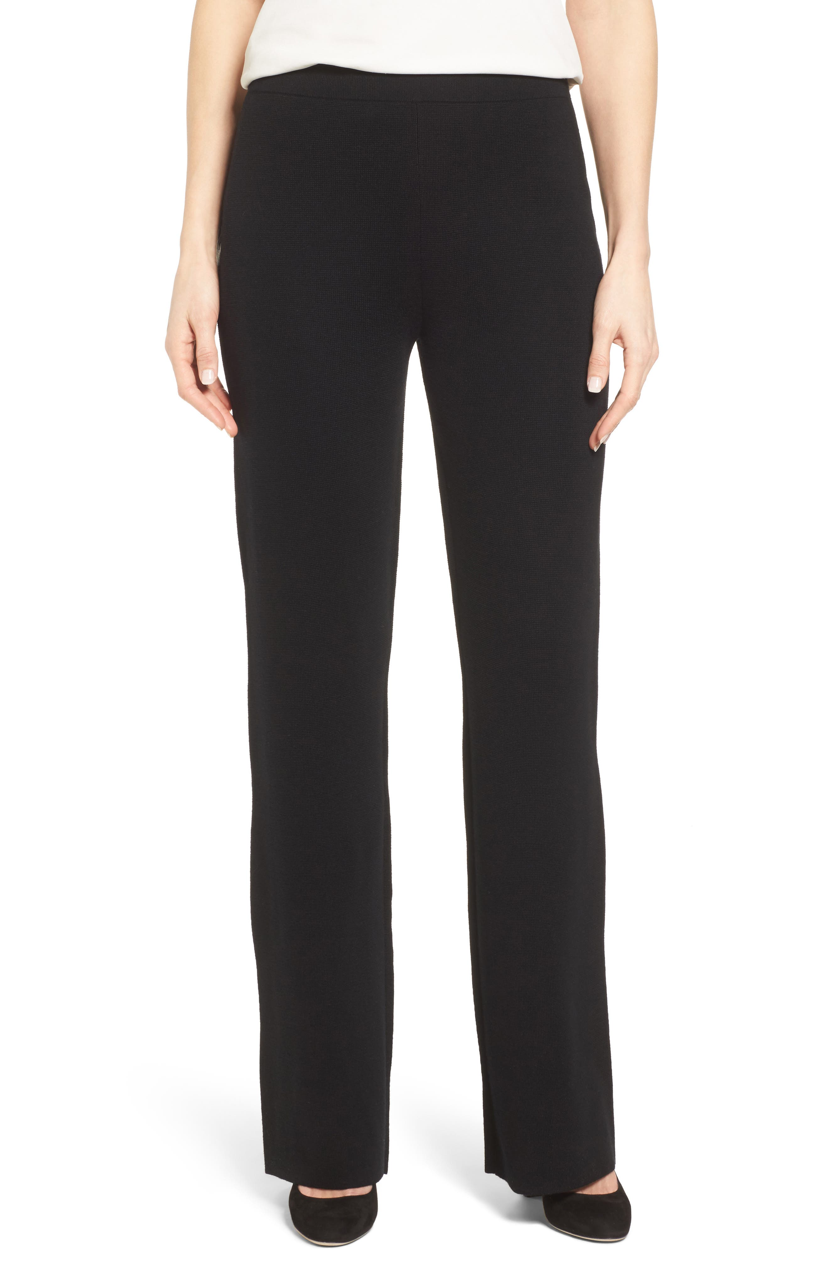 BOSS,                             Falali Wool Flare Leg Trousers,                             Main thumbnail 1, color,                             001