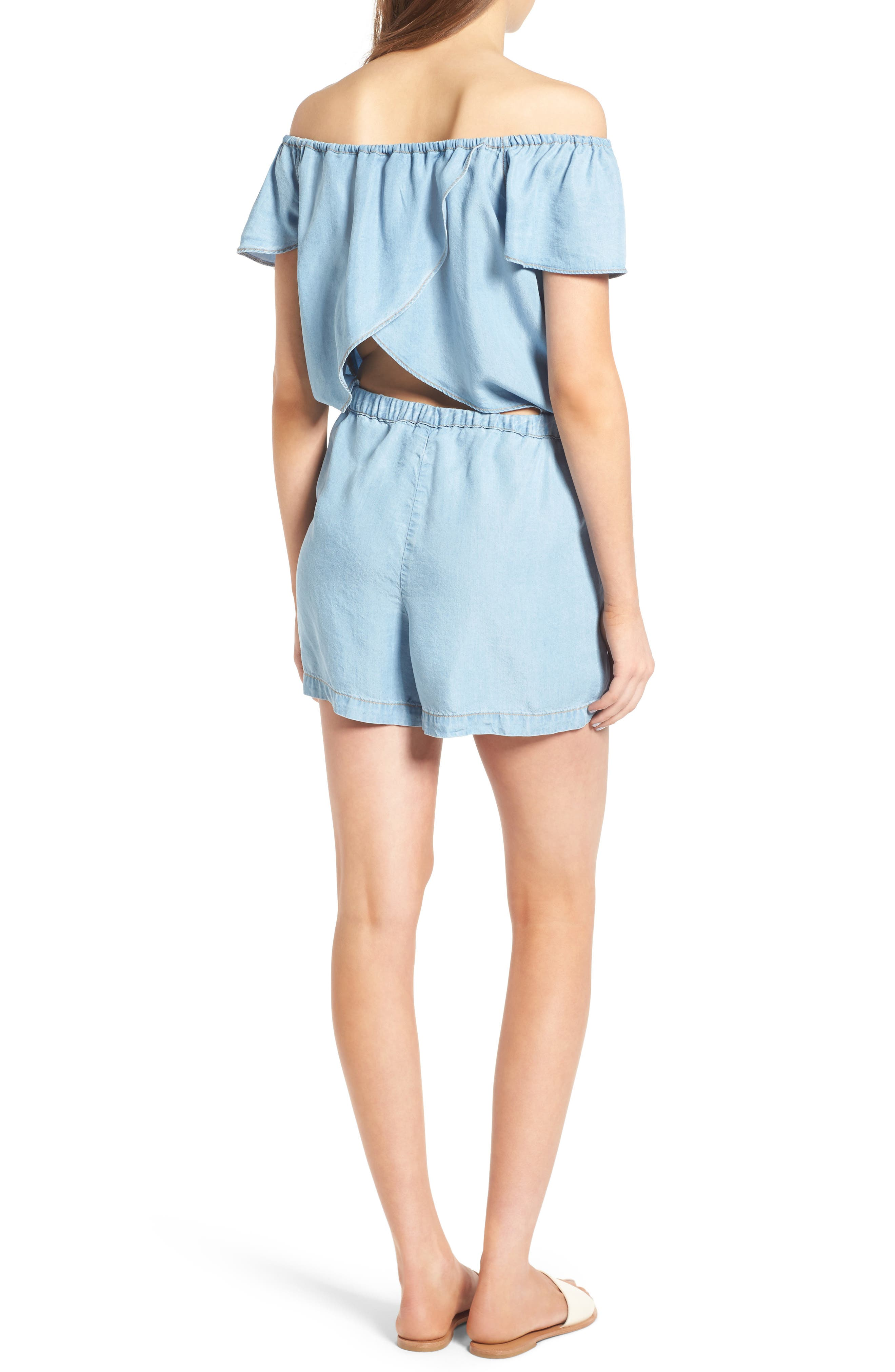 Off the Shoulder Chambray Romper,                             Alternate thumbnail 4, color,