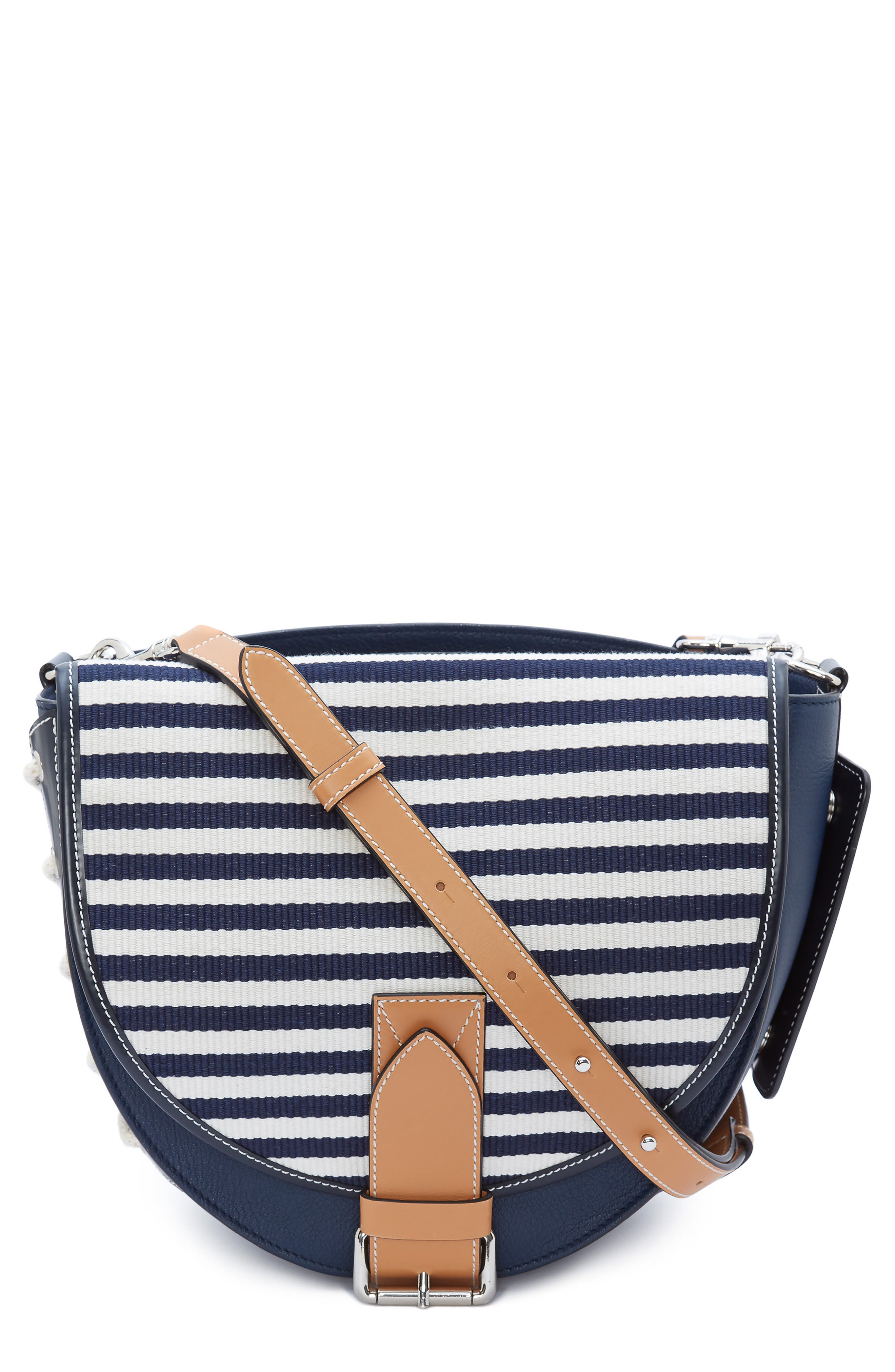 JW ANDERSON Small Bike Leather & Canvas Crossbody Bag, Main, color, NAVY BRETON