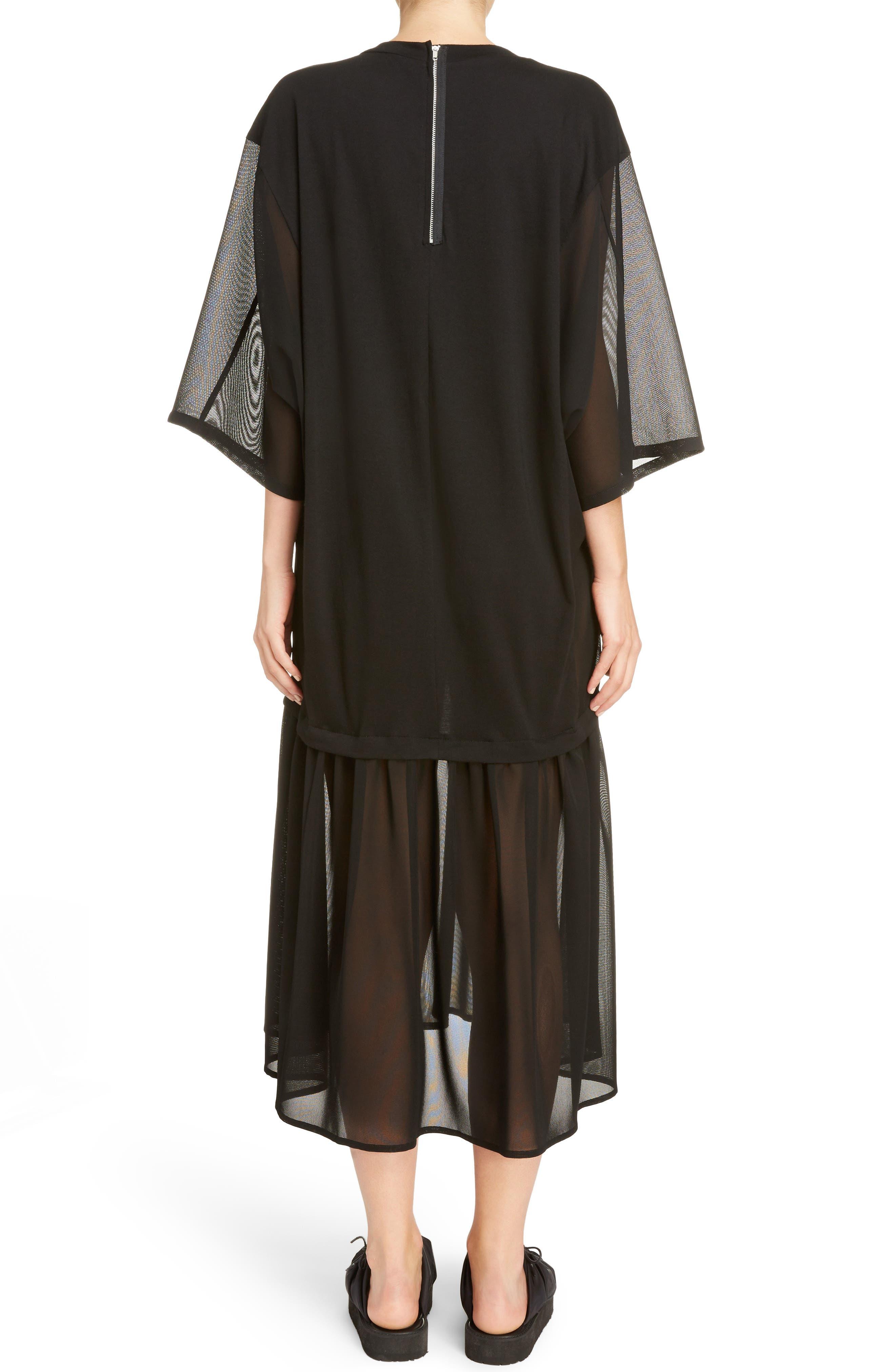Sheer Hem T-Shirt Dress,                             Alternate thumbnail 2, color,                             001