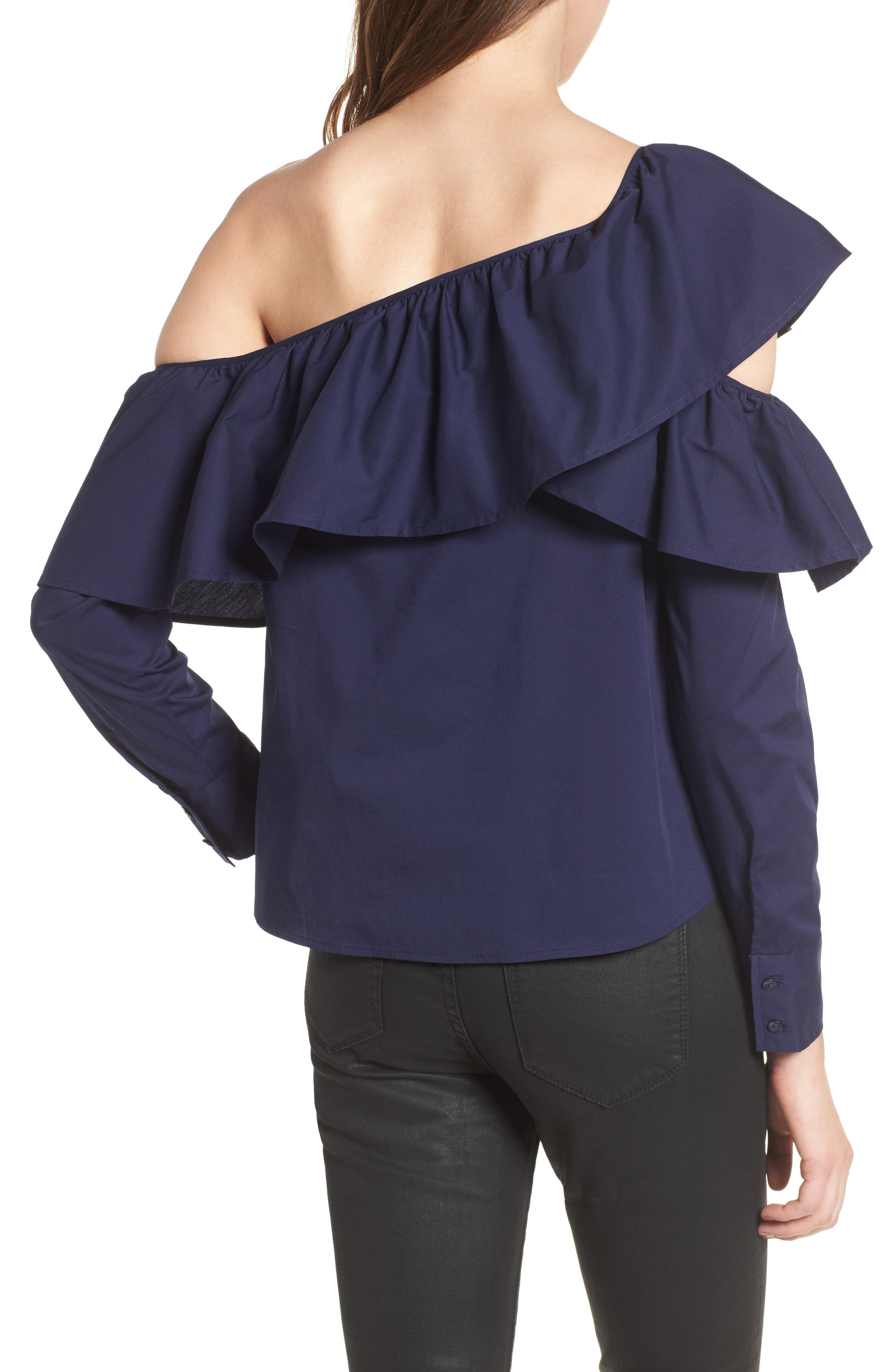 One-Shoulder Ruffle Top,                             Alternate thumbnail 2, color,                             410