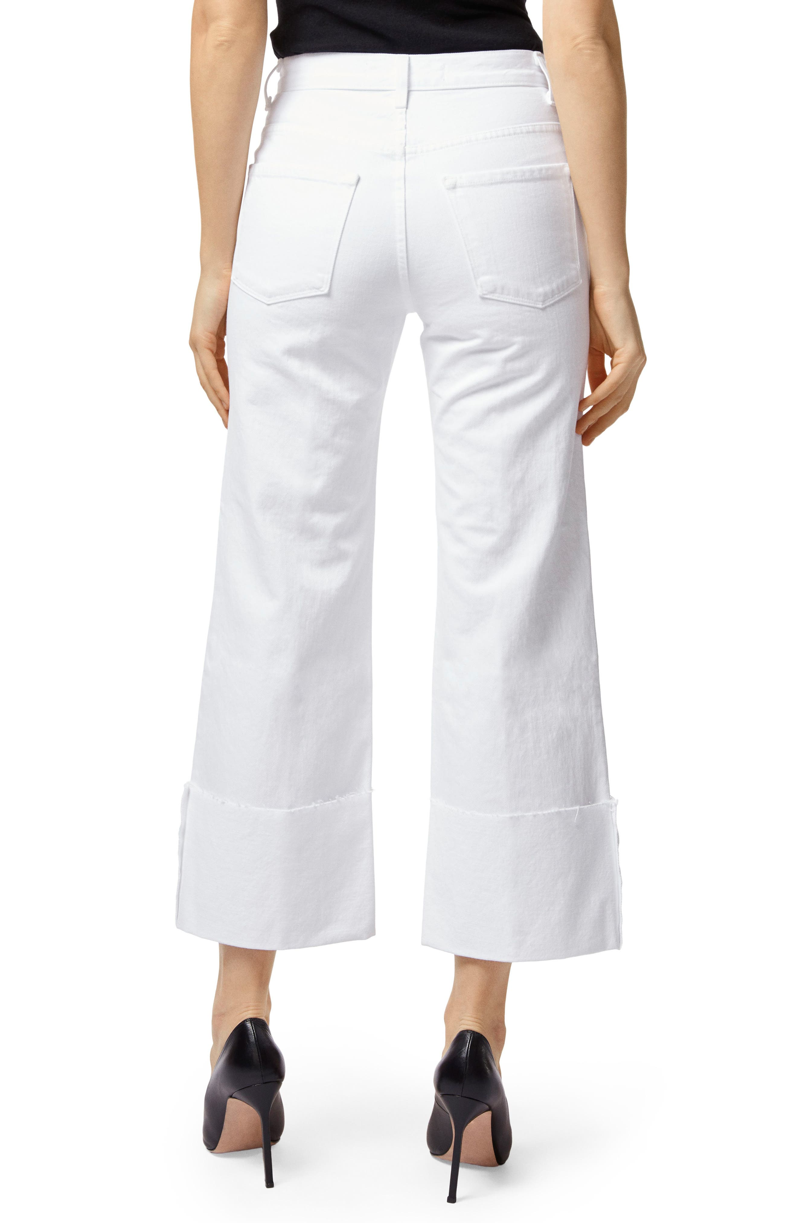Joan High Waist Crop Wide Leg Jeans,                             Alternate thumbnail 2, color,                             100