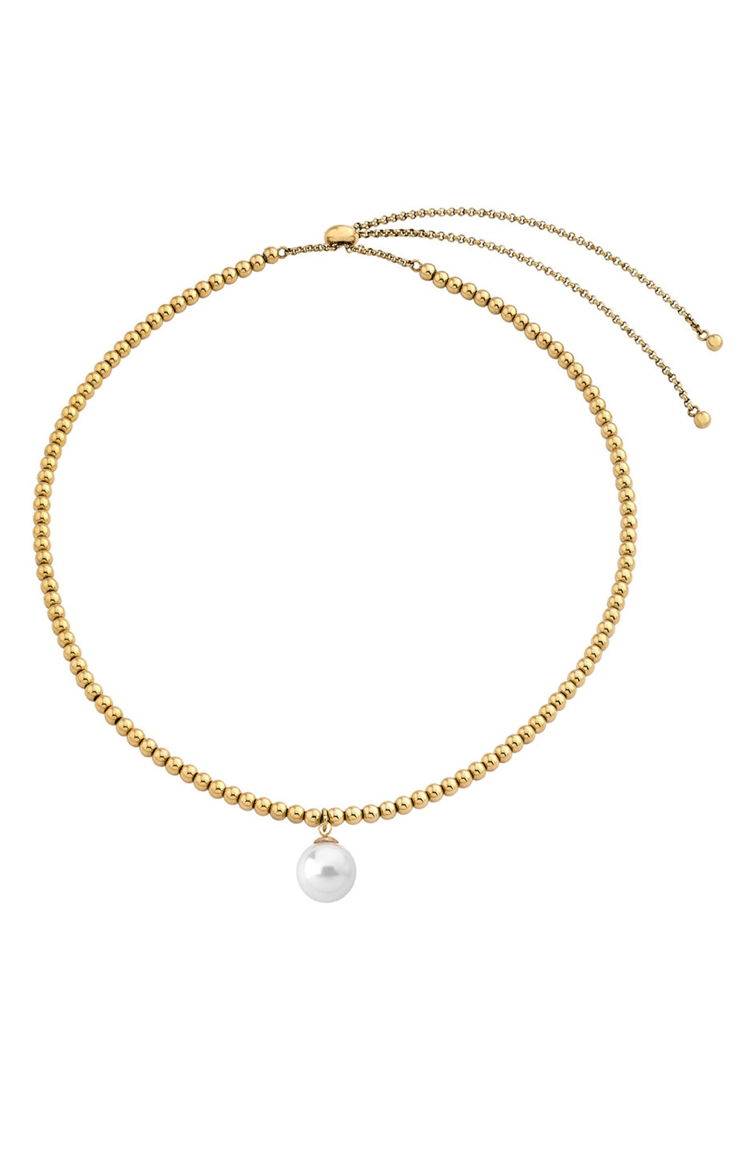 MAJORICA Beaded Simulated Pearl Pendant Necklace, Main, color, WHITE/ GOLD