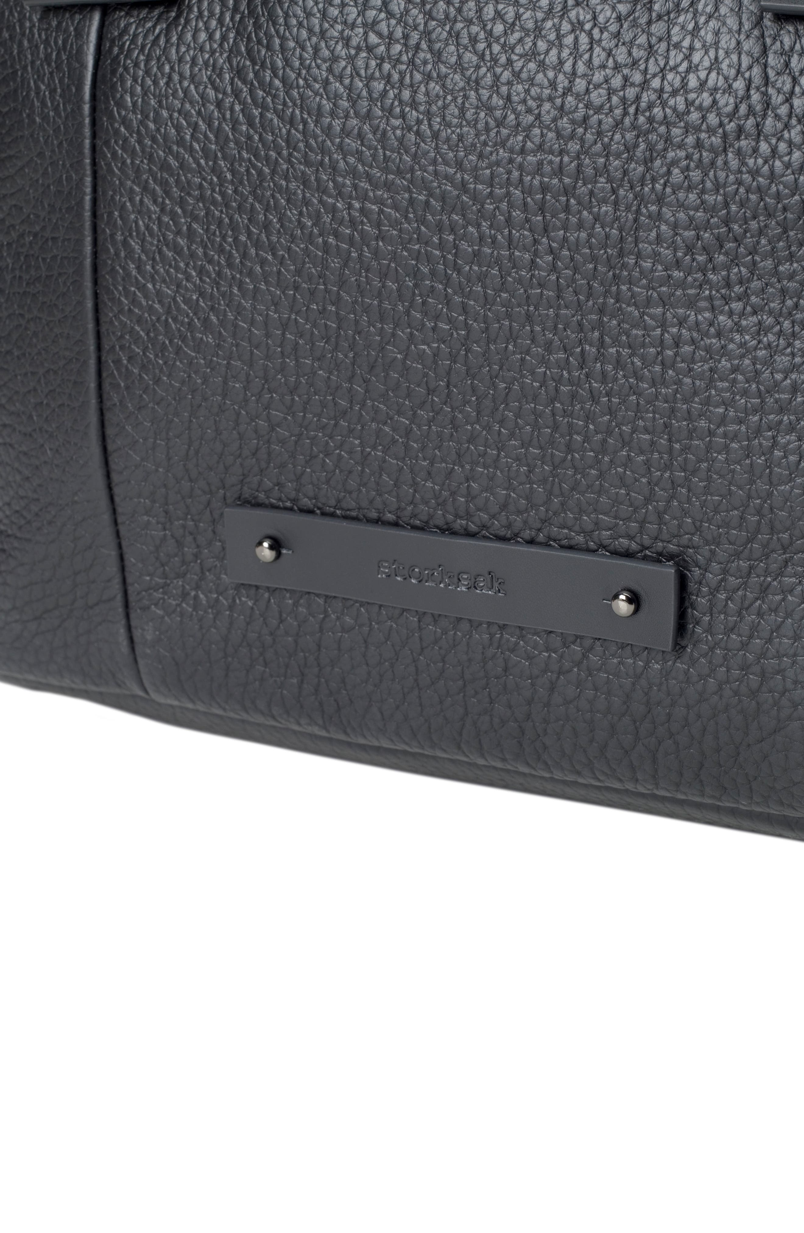 Kym Calfskin Leather Diaper Tote Bag,                             Alternate thumbnail 7, color,                             BLACK