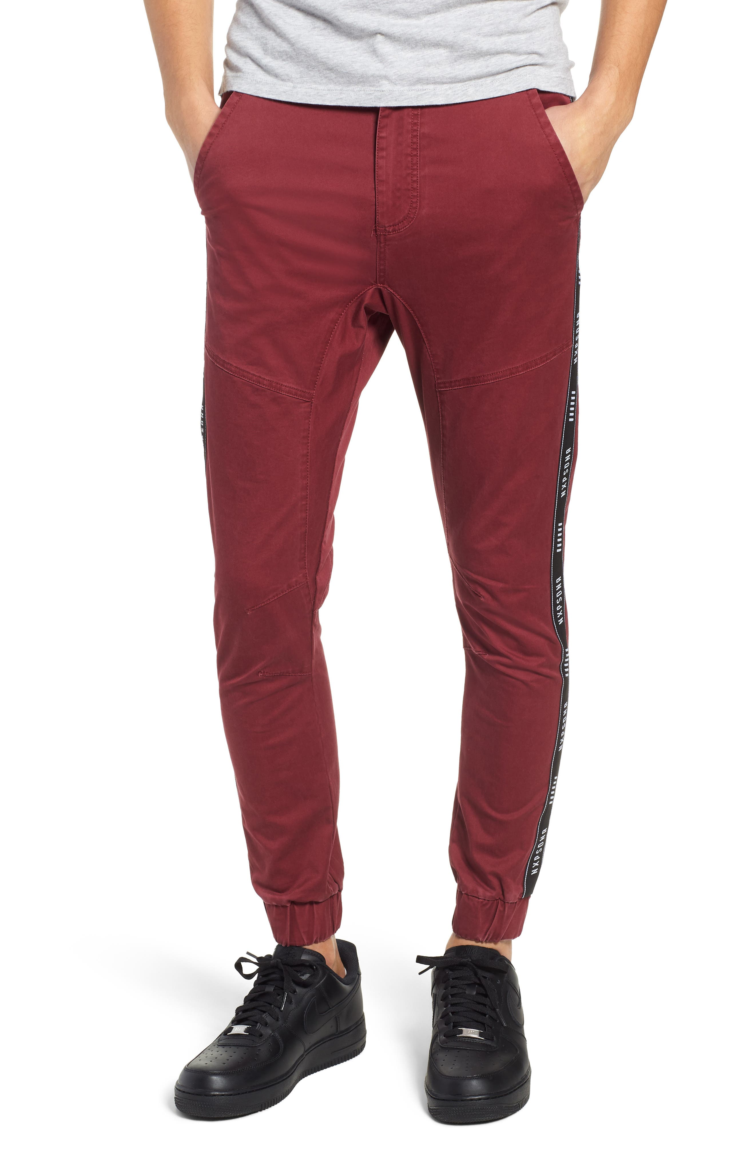 Firebrand Taped Chinos,                         Main,                         color, BORDEAUX