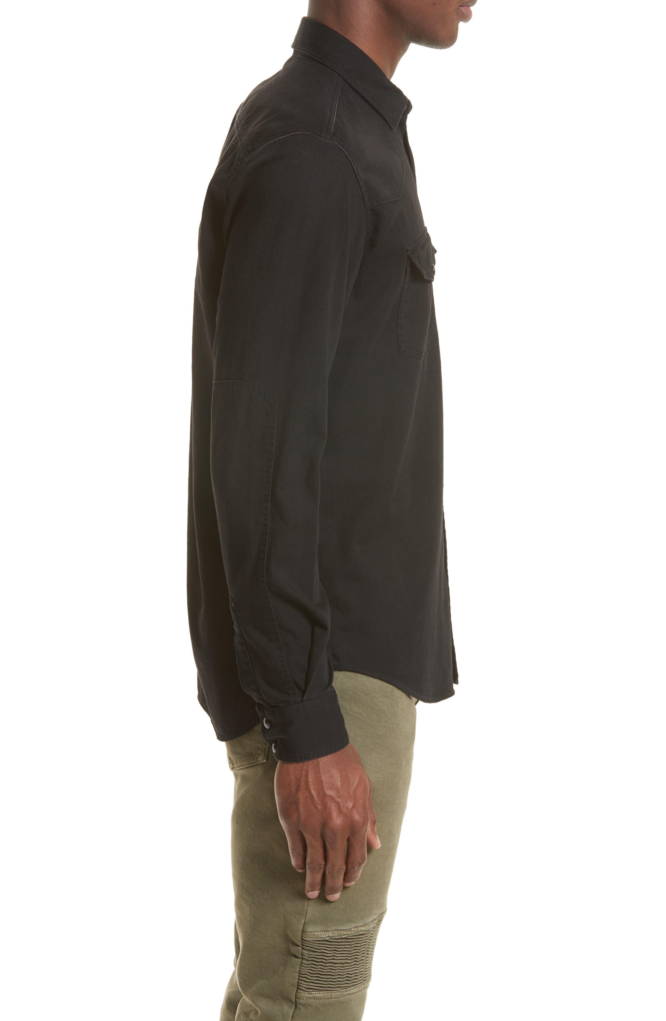 Somerford Extra Trim Fit Denim Shirt,                             Alternate thumbnail 4, color,                             001