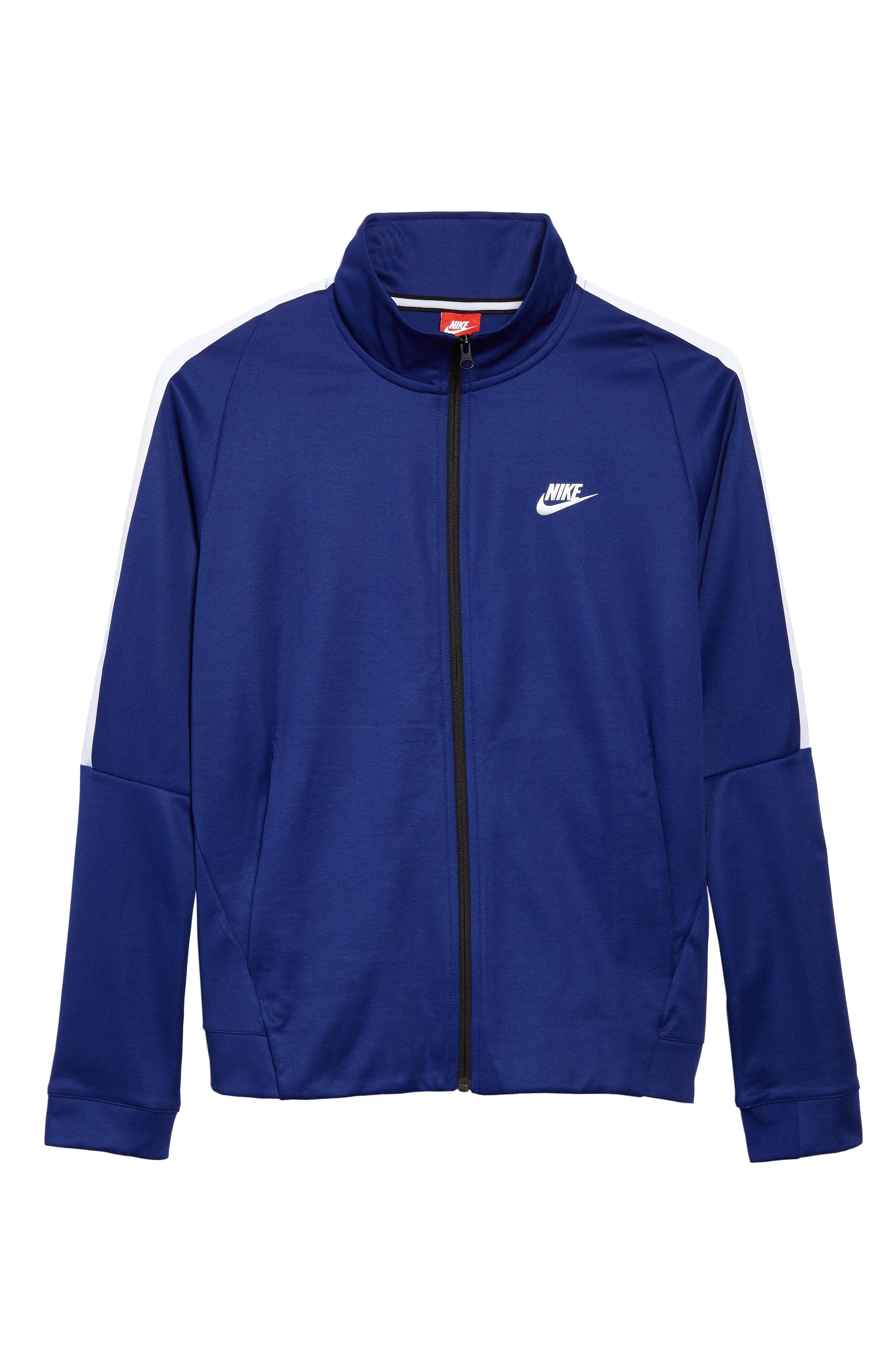 Sportswear Zip Track Jacket,                             Alternate thumbnail 6, color,                             DEEP ROYAL BLUE/ WHITE/ BLACK