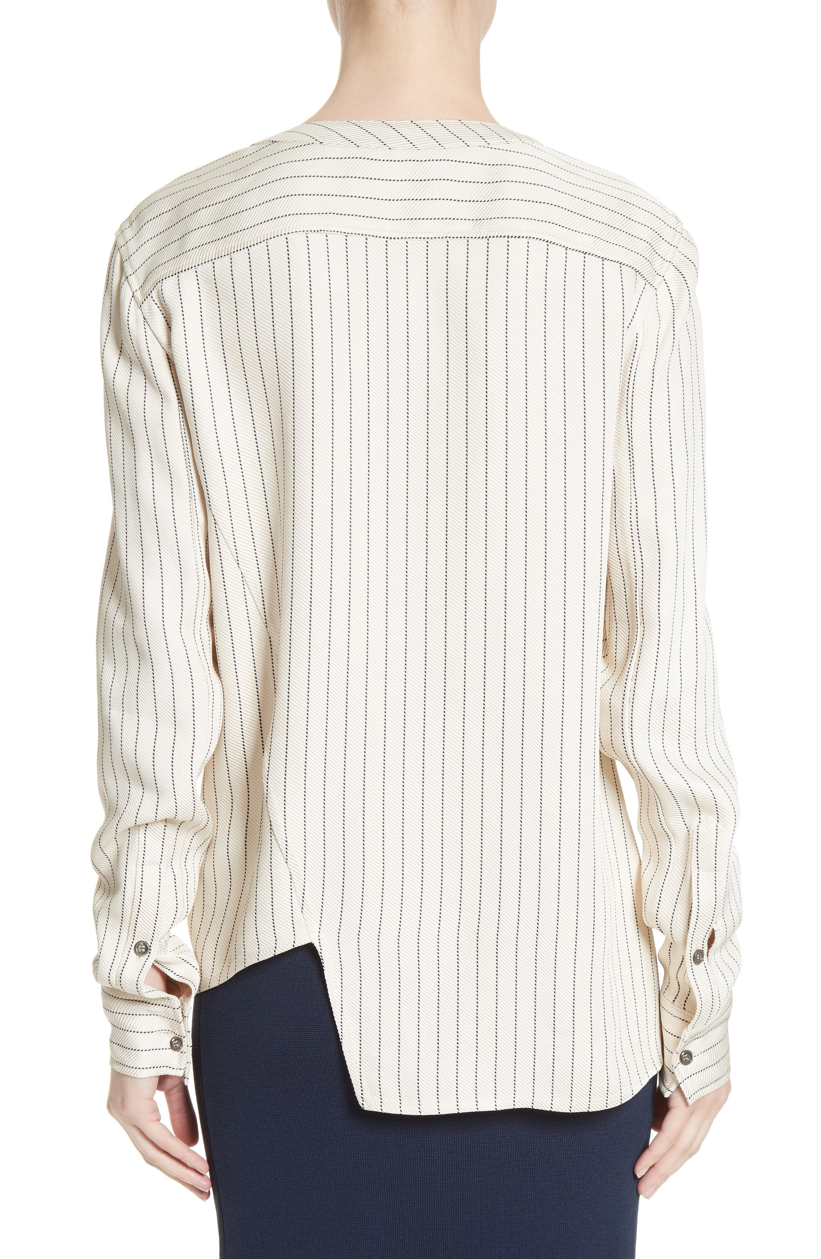 Asymmetrical Pinstripe Blouse,                             Alternate thumbnail 2, color,                             900