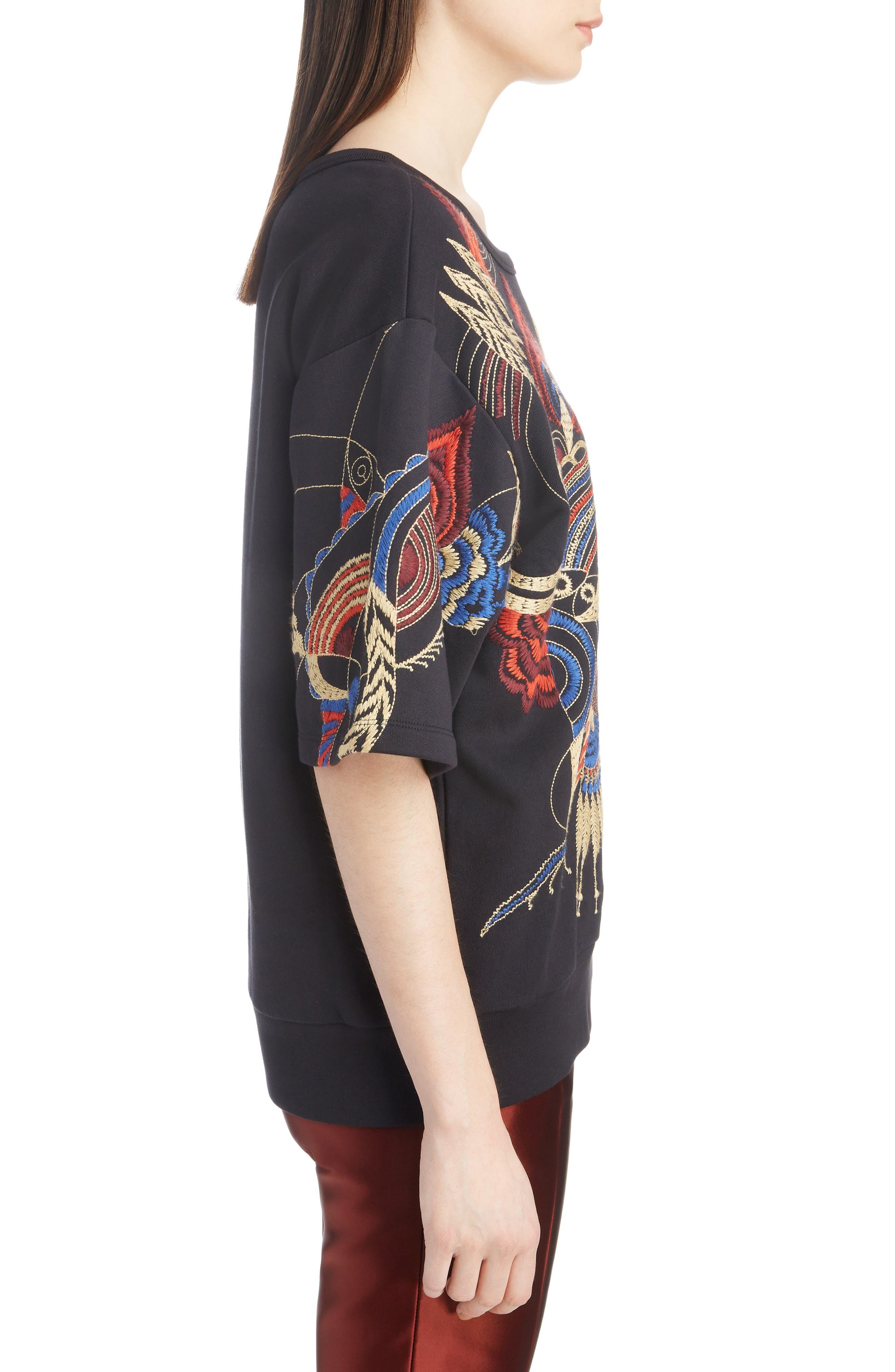 Fan Embroidered Sweatshirt,                             Alternate thumbnail 3, color,                             BLACK