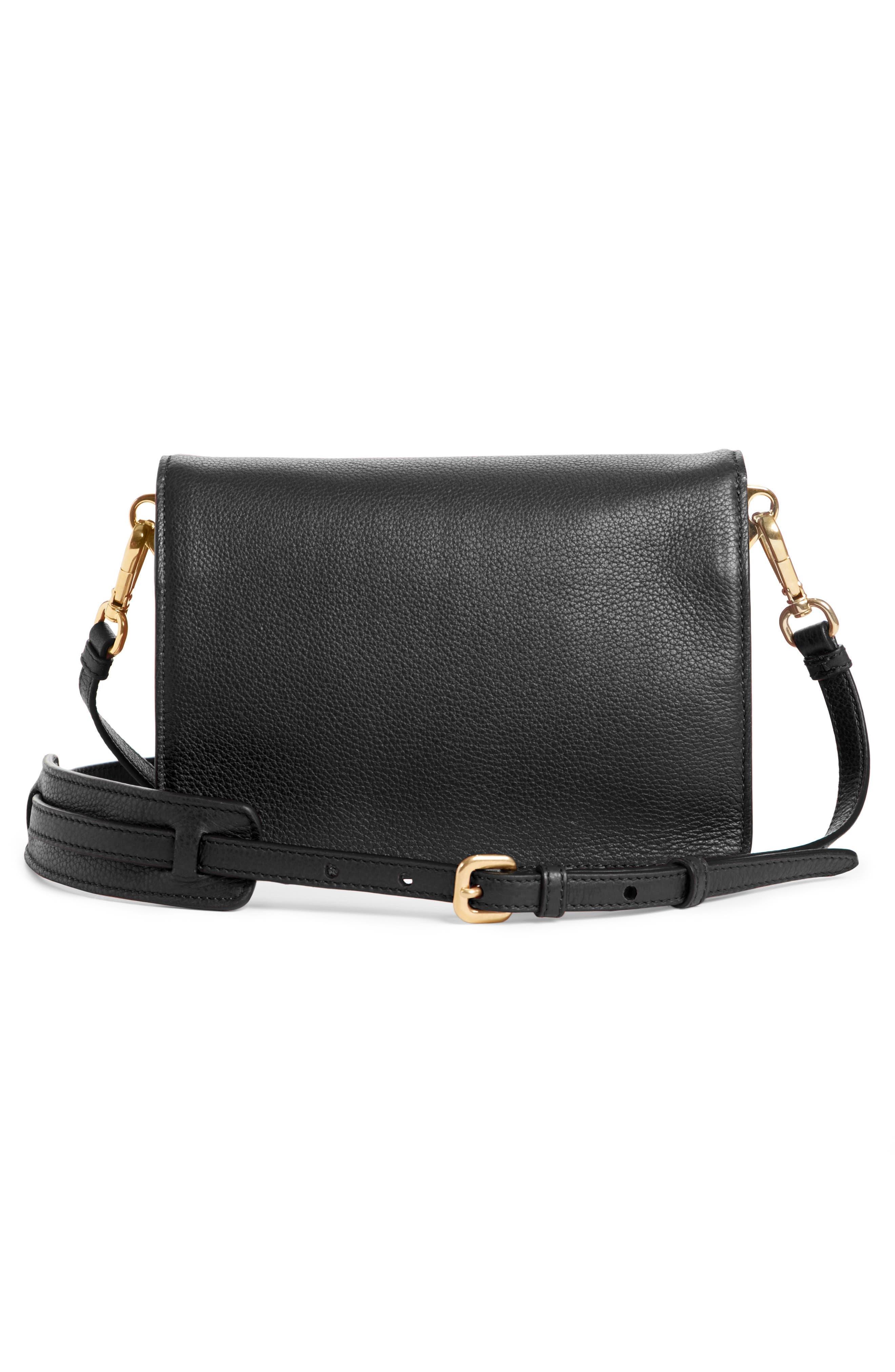 Vitello Daino Double Compartment Leather Shoulder Bag,                             Alternate thumbnail 3, color,                             001