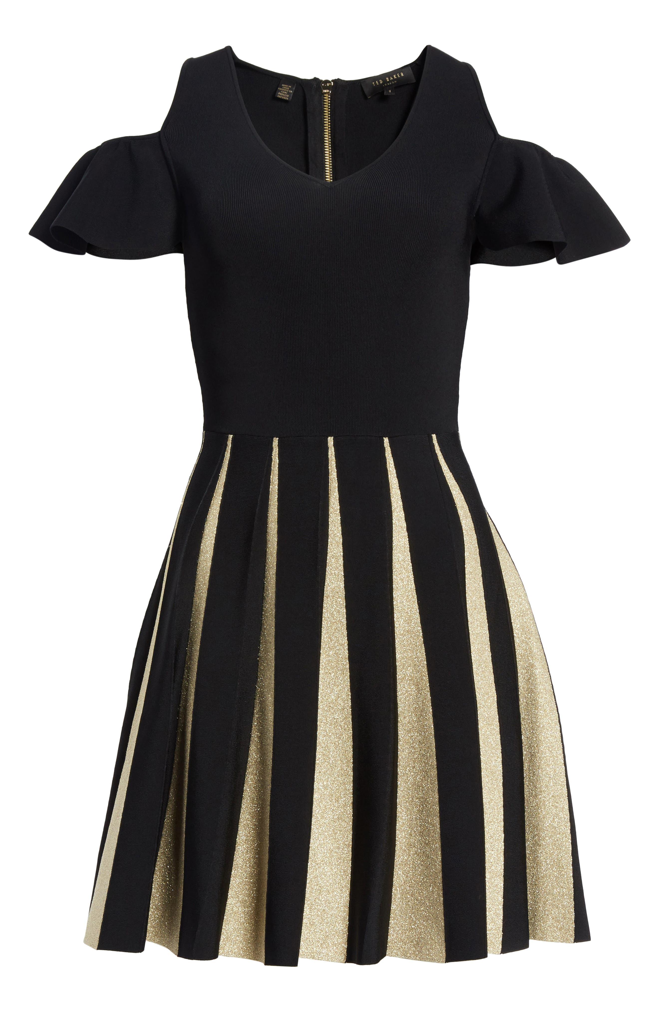 Flippy Cold Shoulder Skater Dress,                             Alternate thumbnail 6, color,