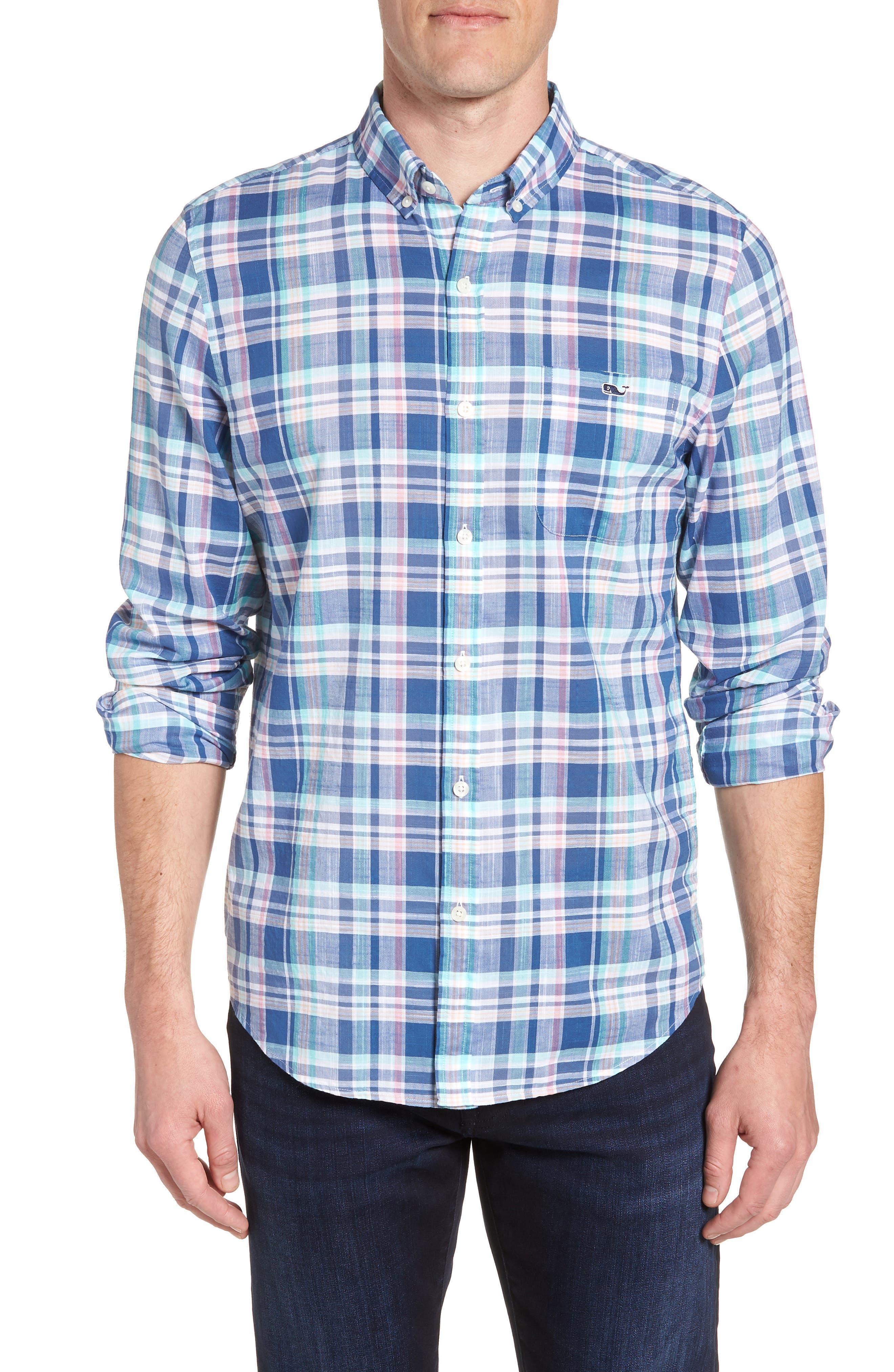 Primrose Plaid Slim Fit Tucker Sport Shirt,                         Main,                         color, FLAG BLUE
