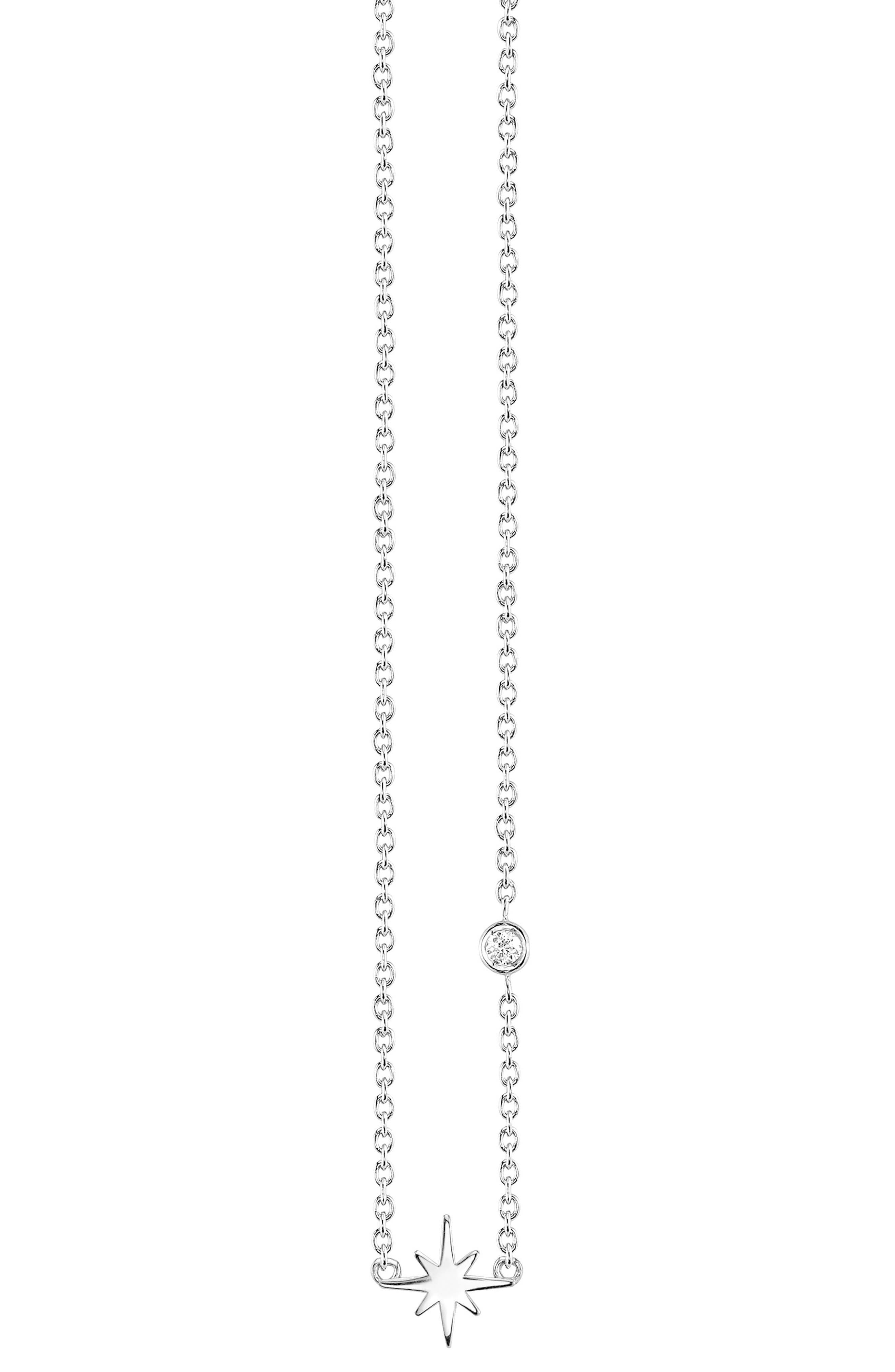 Starburst Diamond Necklace,                         Main,                         color, SILVER