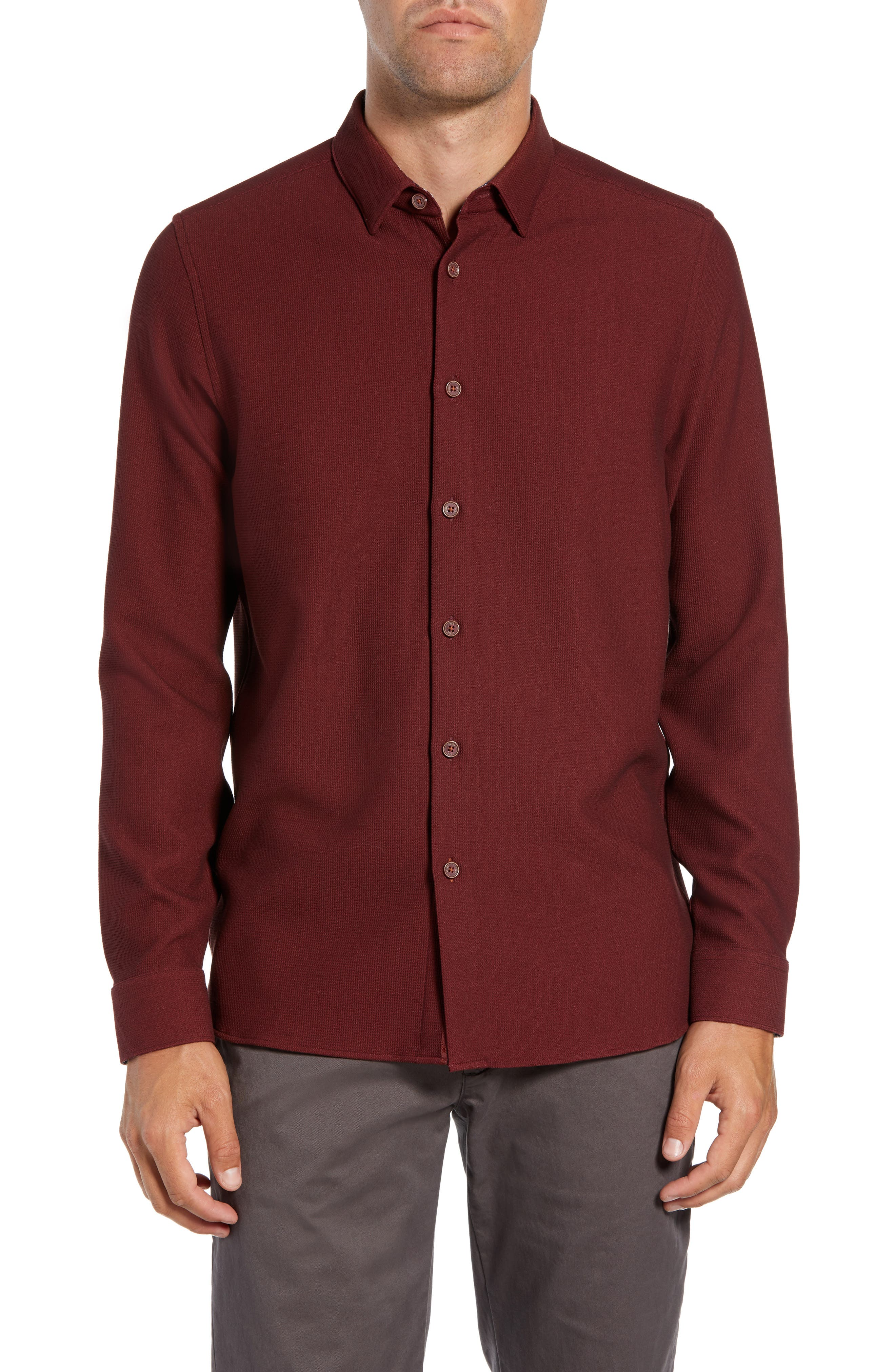 Piccatt Extra Slim Fit Stretch Solid Sport Shirt,                             Main thumbnail 1, color,                             DARK RED