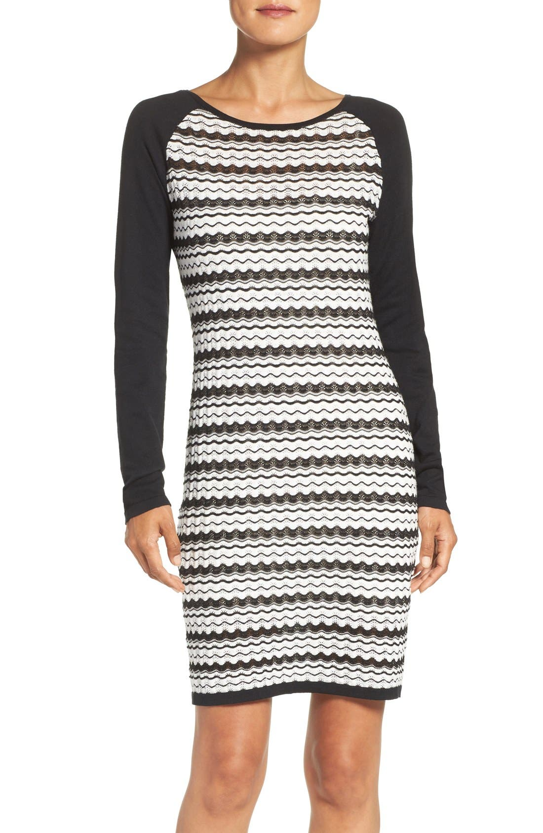 'Zeal' Pointelle Sweater Dress, Main, color, 001