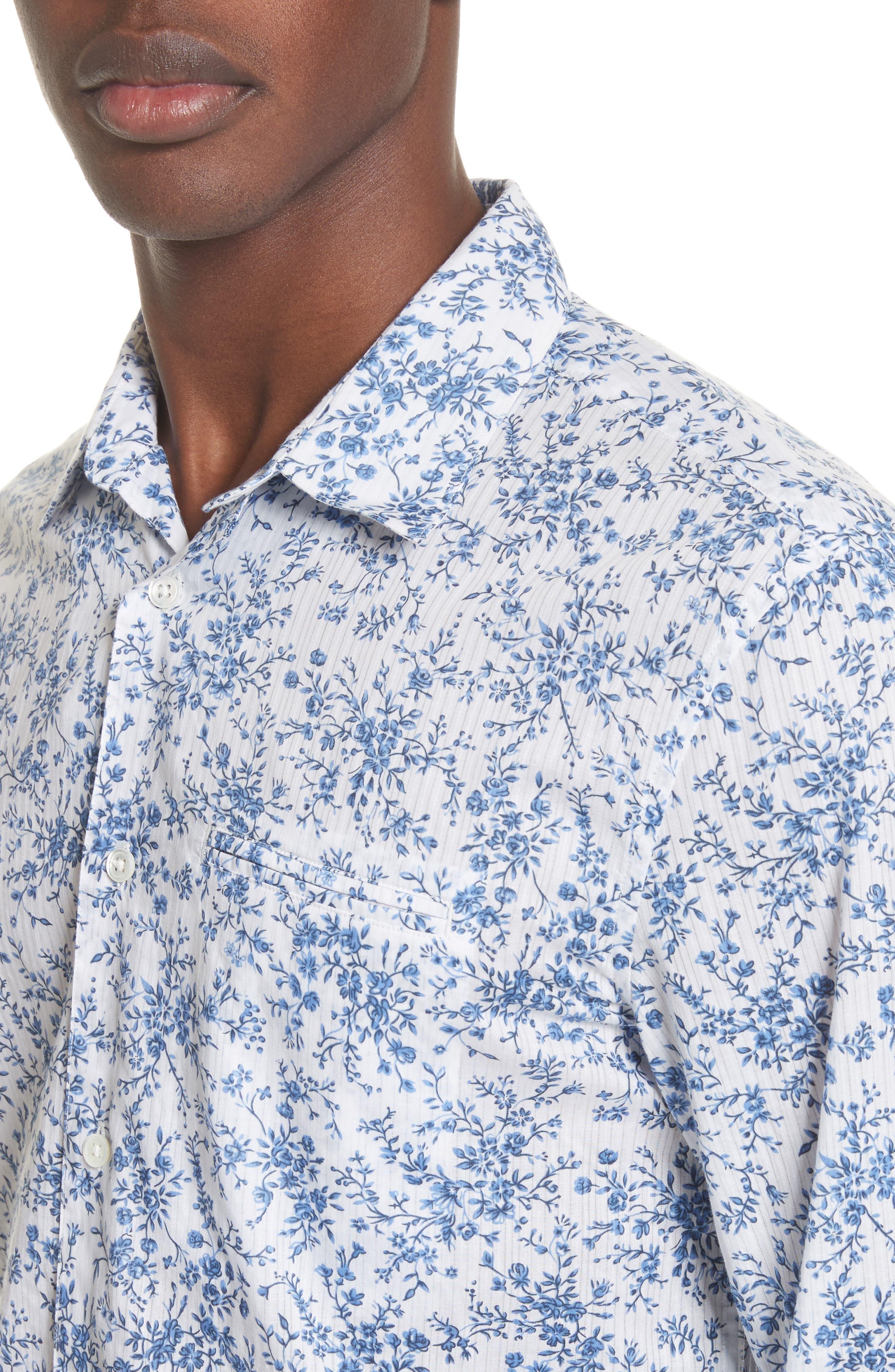 John Varvatos Slim Fit Floral Print Shirt,                             Alternate thumbnail 4, color,                             448