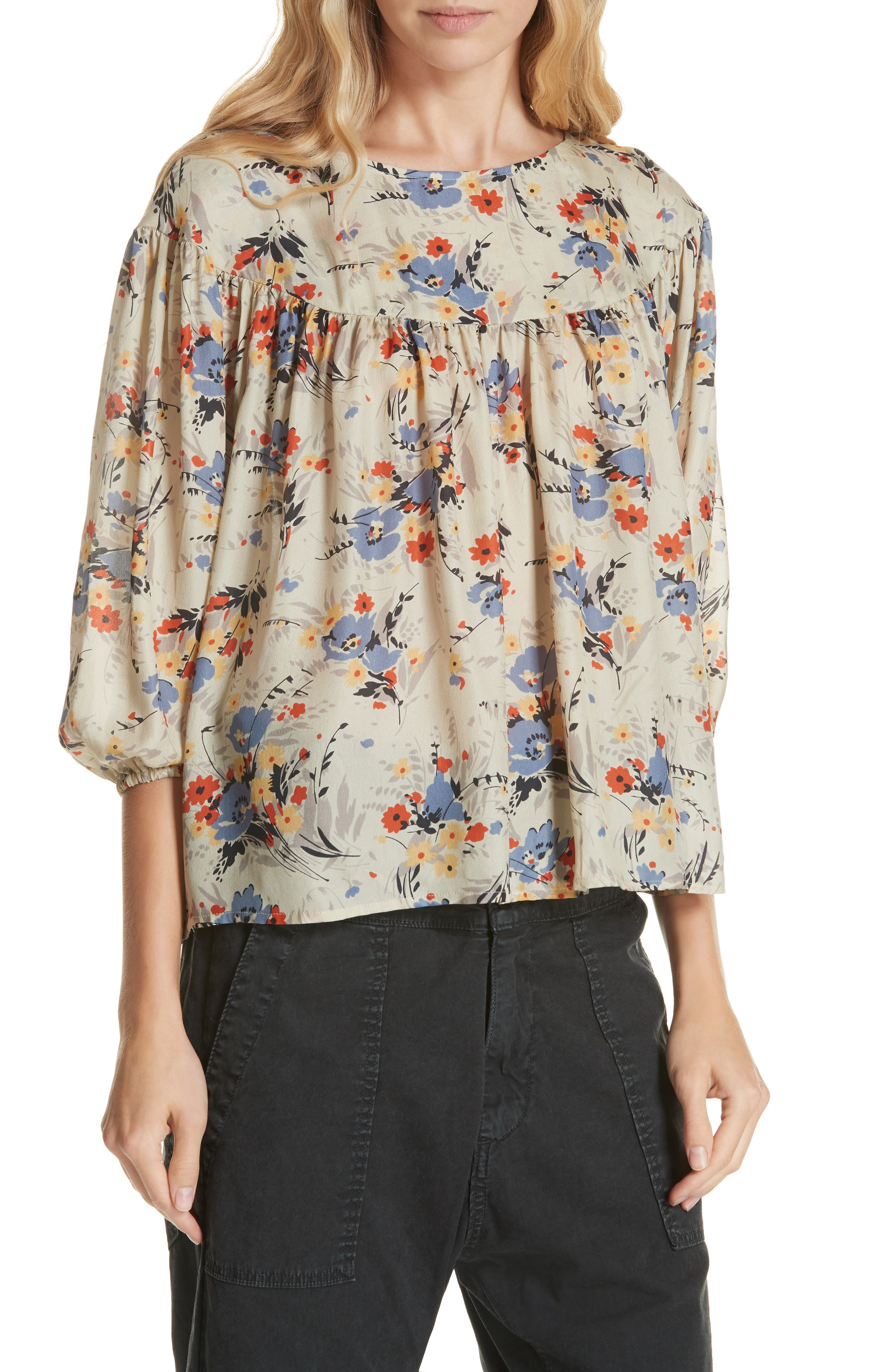 Duskfall Silk Blouse,                             Main thumbnail 1, color,                             WOODLAND FLORAL