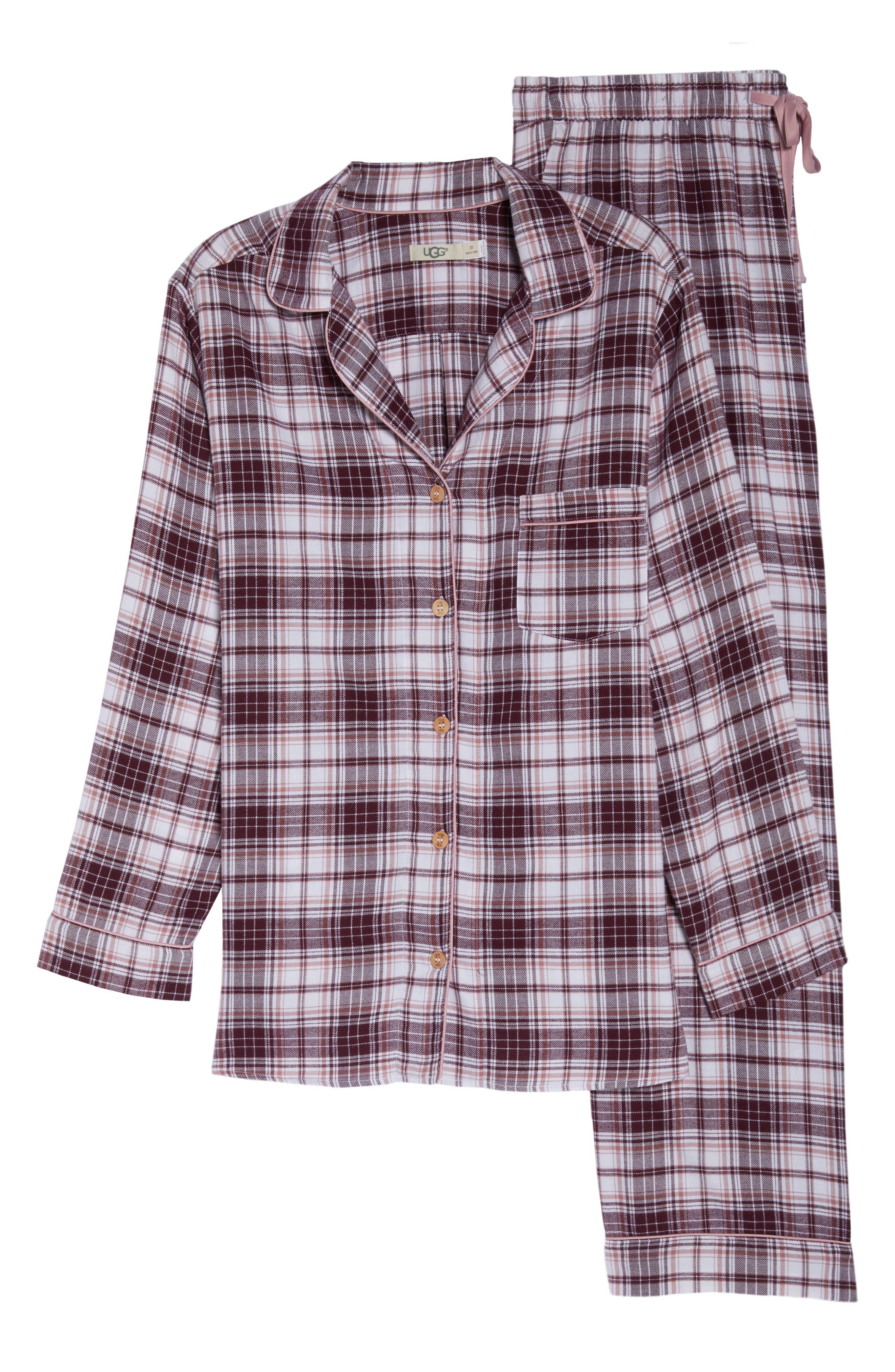 Raven Plaid Pajamas,                             Alternate thumbnail 6, color,                             PORT PLAID